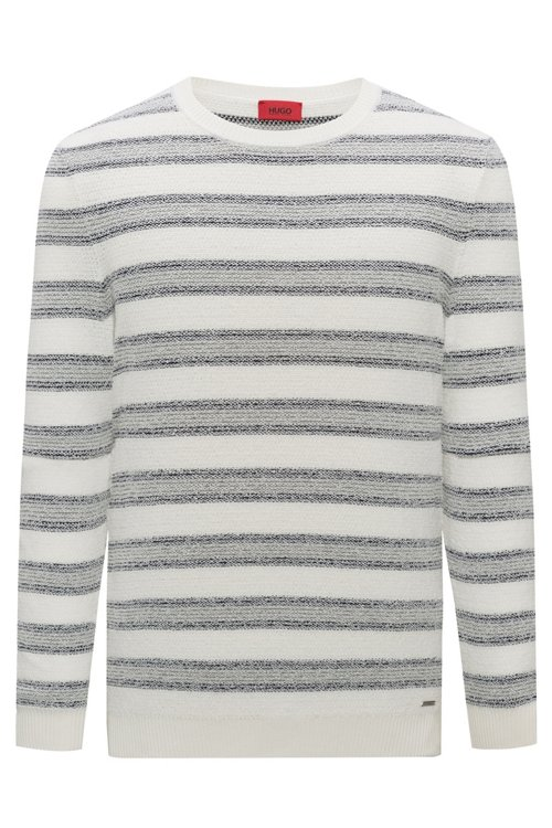 Hugo Boss - Cotton-blend sweater with jacquard stripe - 1