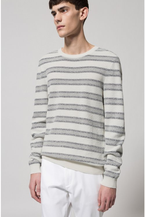 Hugo Boss - Cotton-blend sweater with jacquard stripe - 3