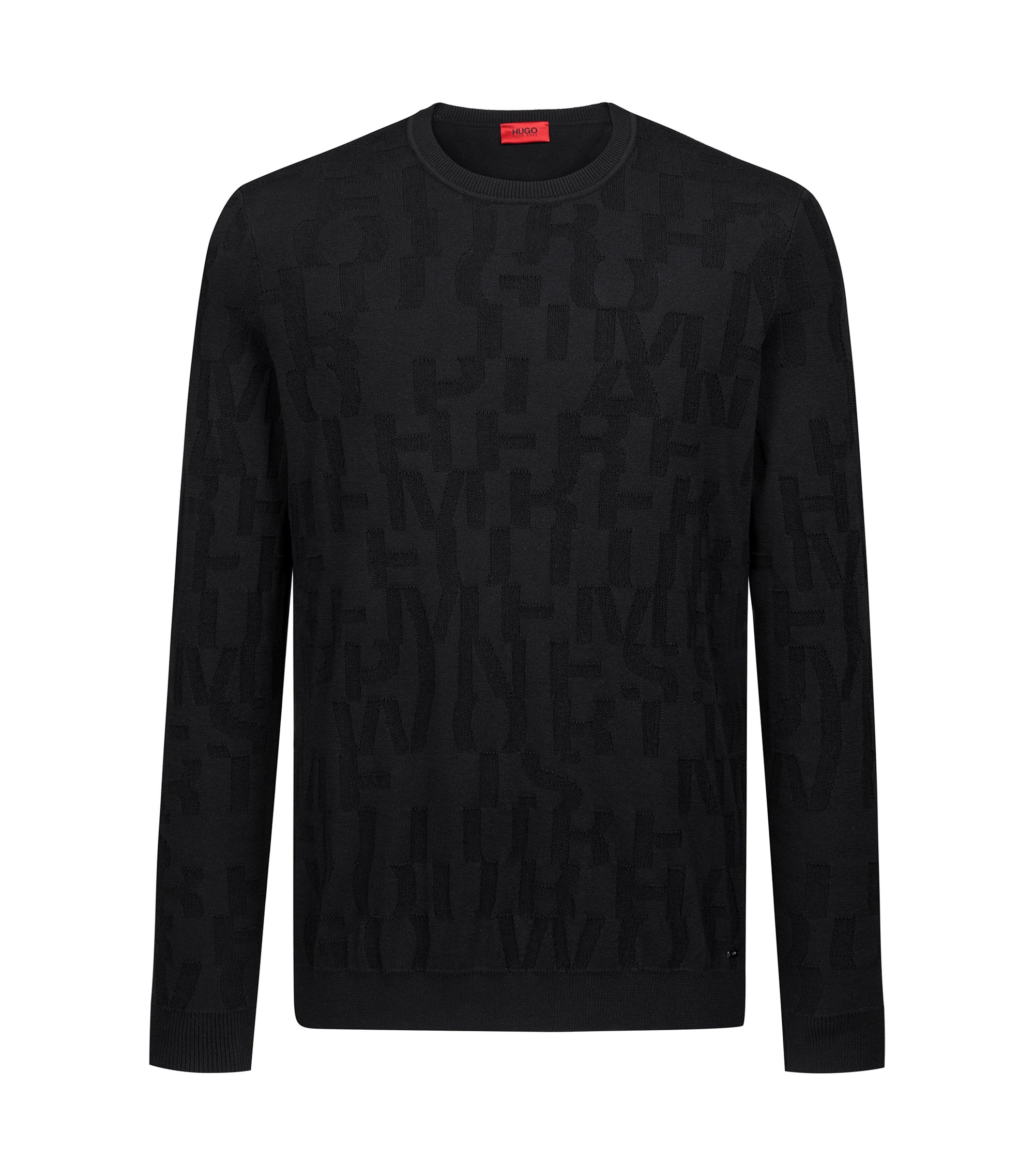 Knitted sweater in cotton jacquard with slogan design, Black