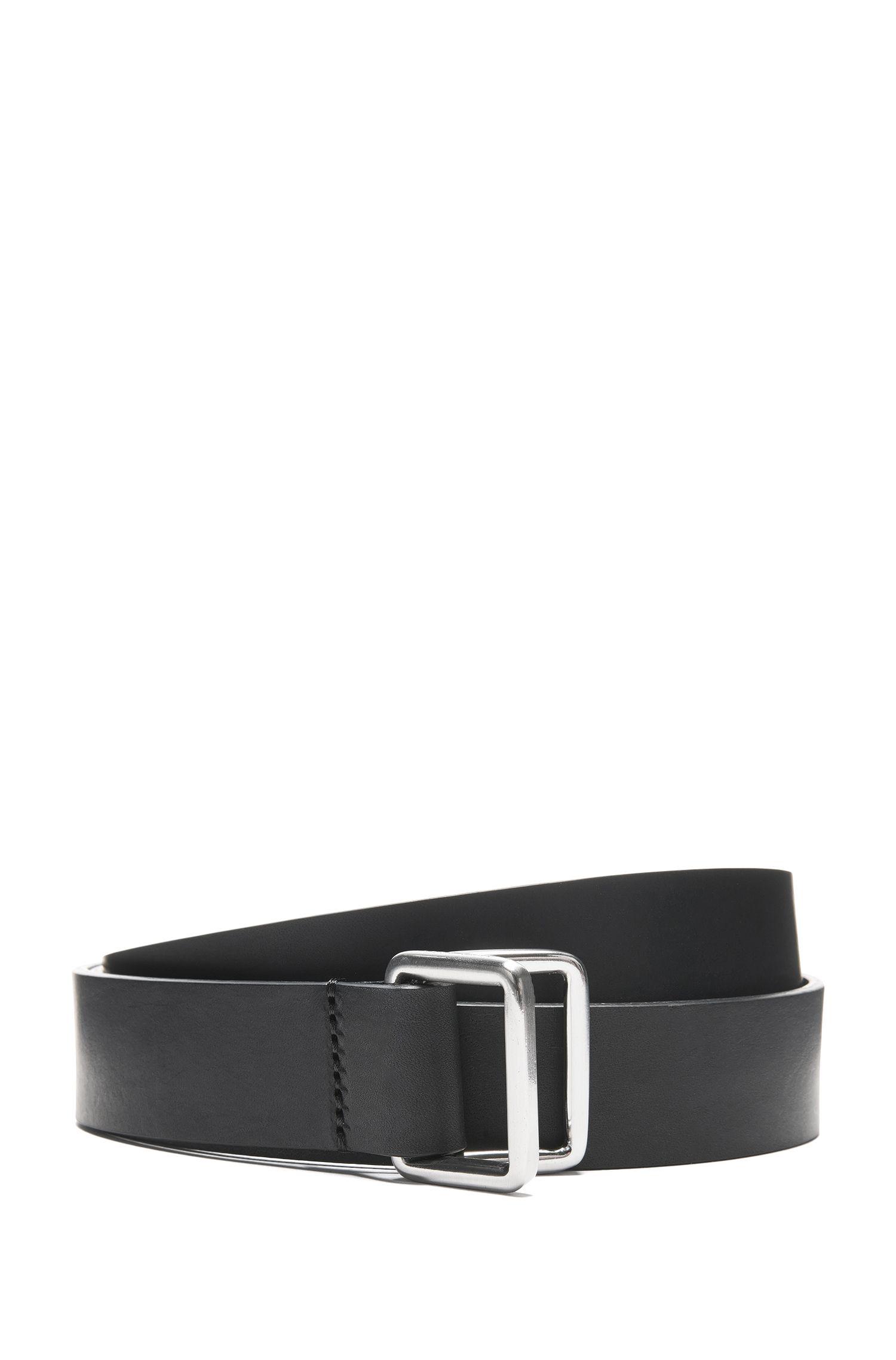 Cinturón de piel italiana lisa con cierre de anilla semicircular doble