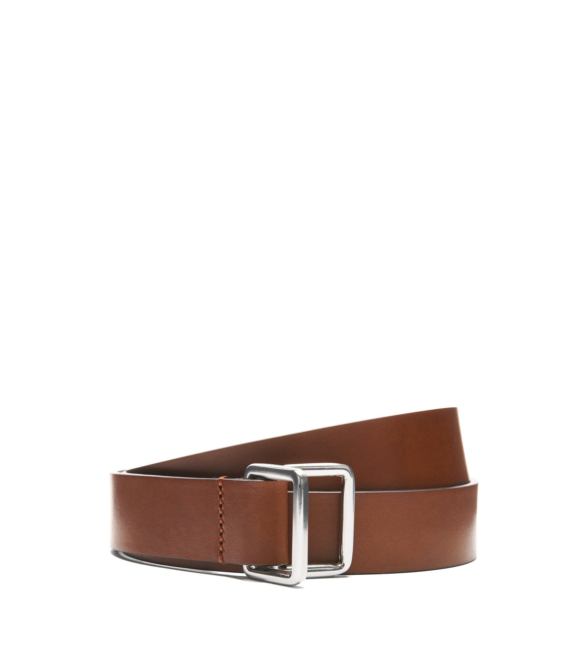 Smooth Italian-leather belt with double D-ring closure, Brown