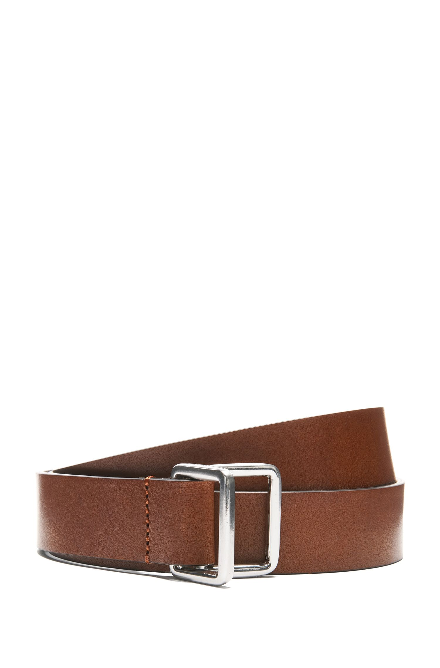 Smooth Italian-leather belt with double D-ring closure