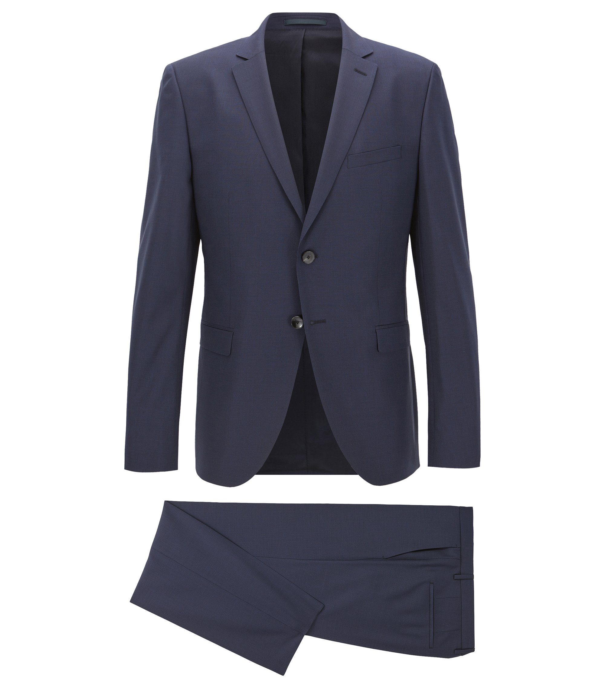 Extra-slim-fit suit in a wool blend with natural stretch, Dark Blue