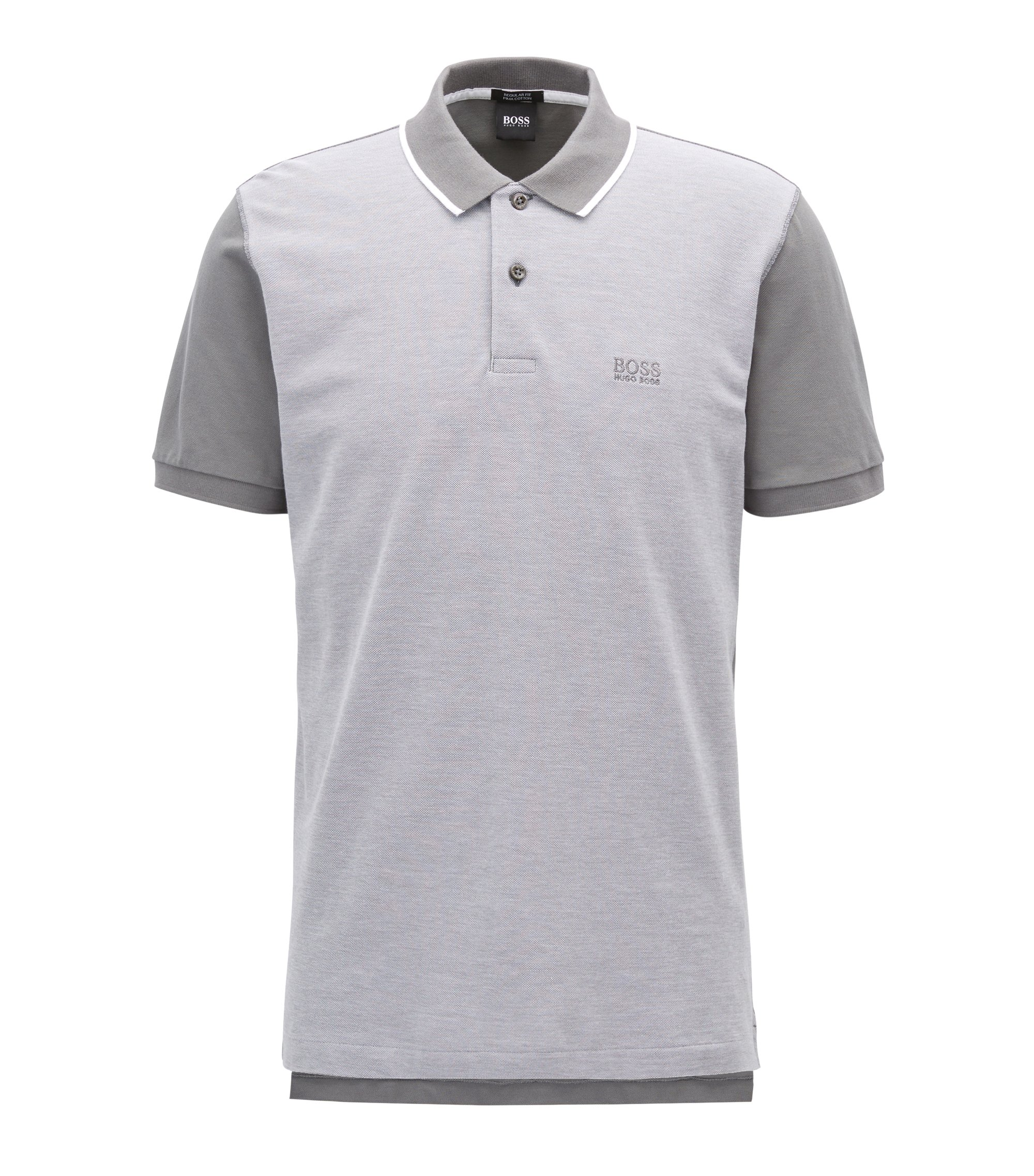 Polo shirt in fine Oxford piqué cotton, Light Grey