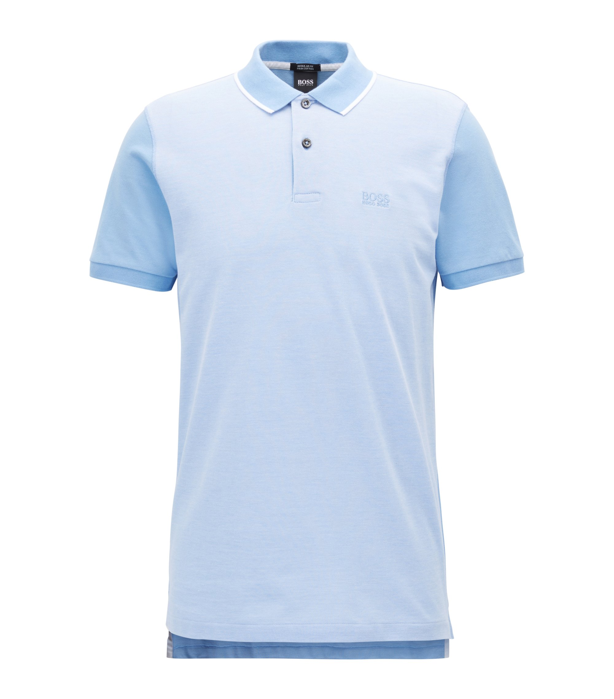 Polo shirt in fine Oxford piqué cotton, Light Blue