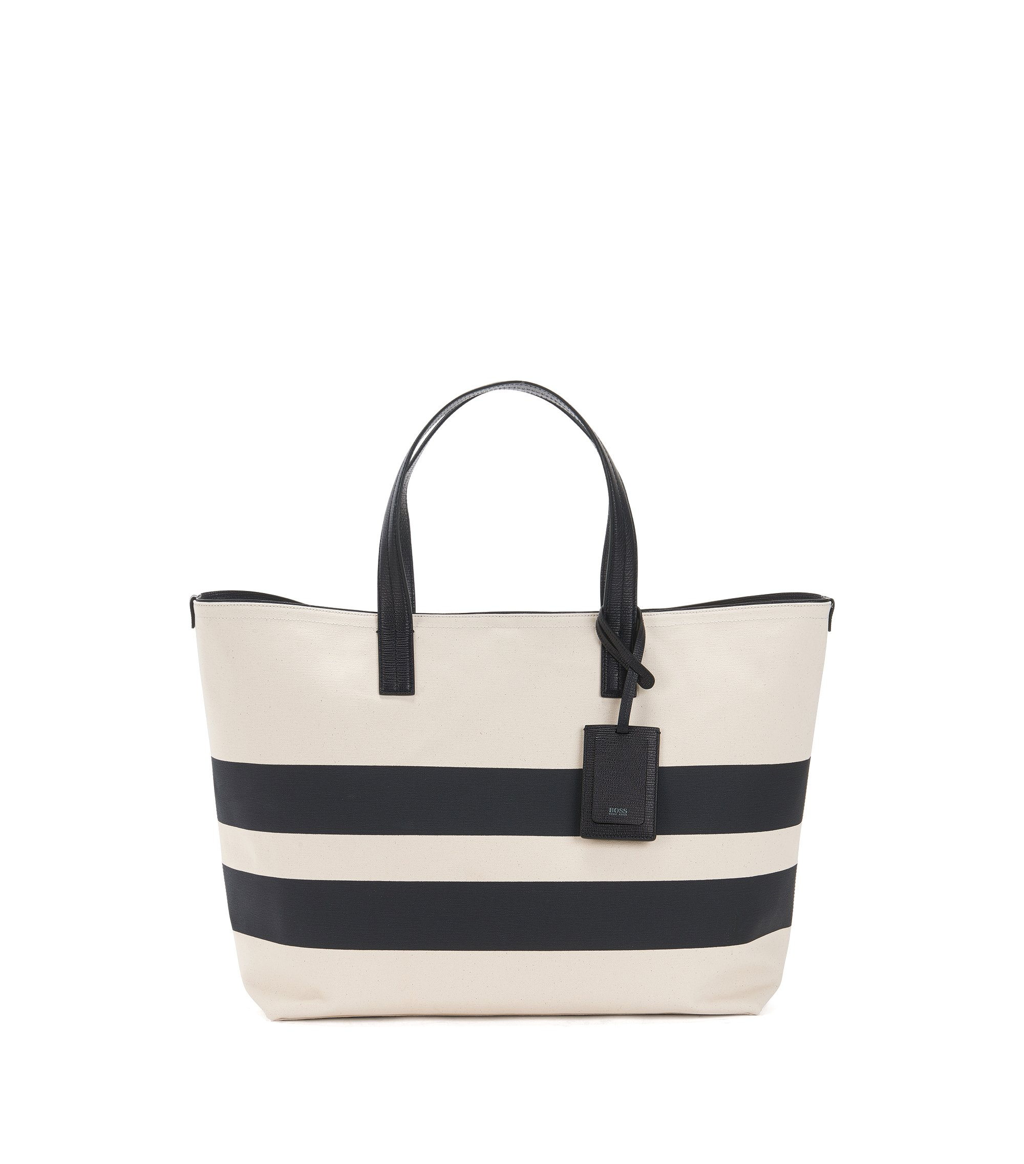 Striped Italian canvas tote bag with leather trims, Natural