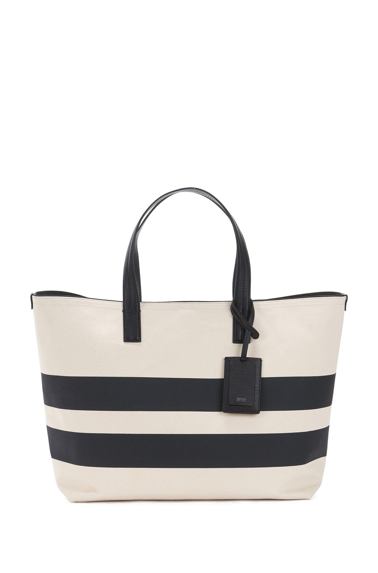 Striped Italian canvas tote bag with leather trims
