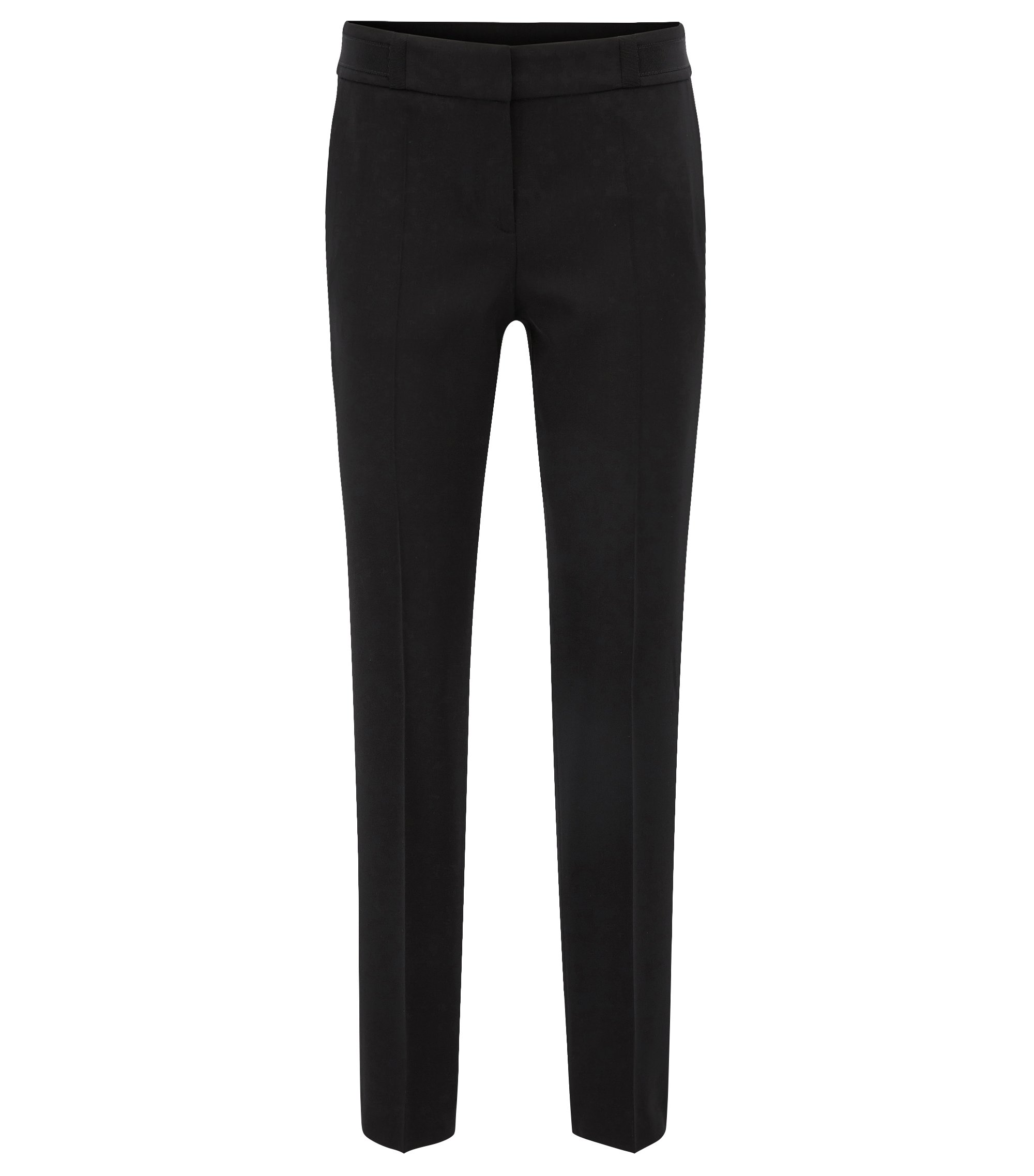Regular-fit trousers in stretch virgin-wool twill, Black