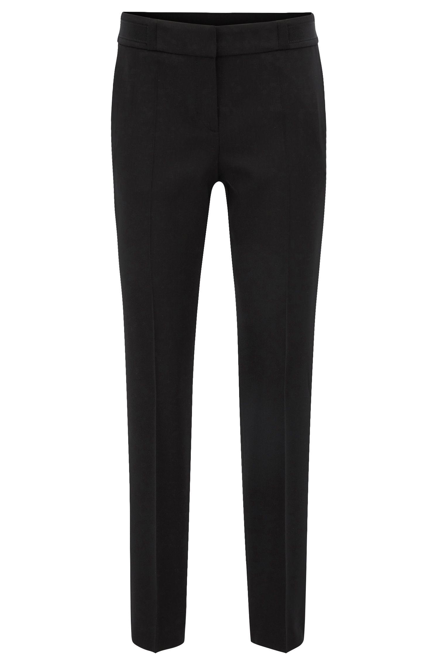 Pantaloni regular fit in twill di lana vergine elasticizzata