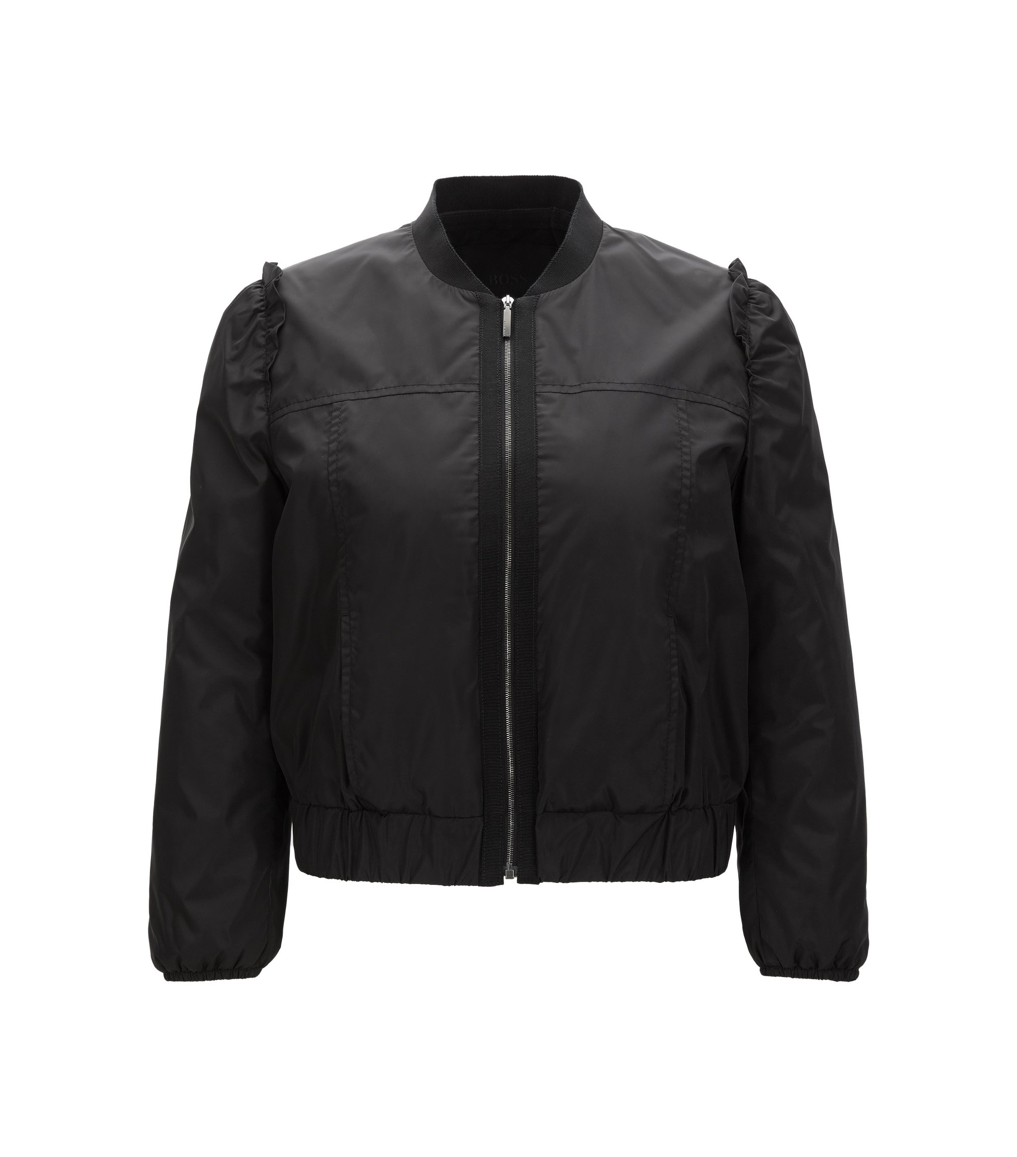 Frilled bomber jacket in water-repellent fabric, Black