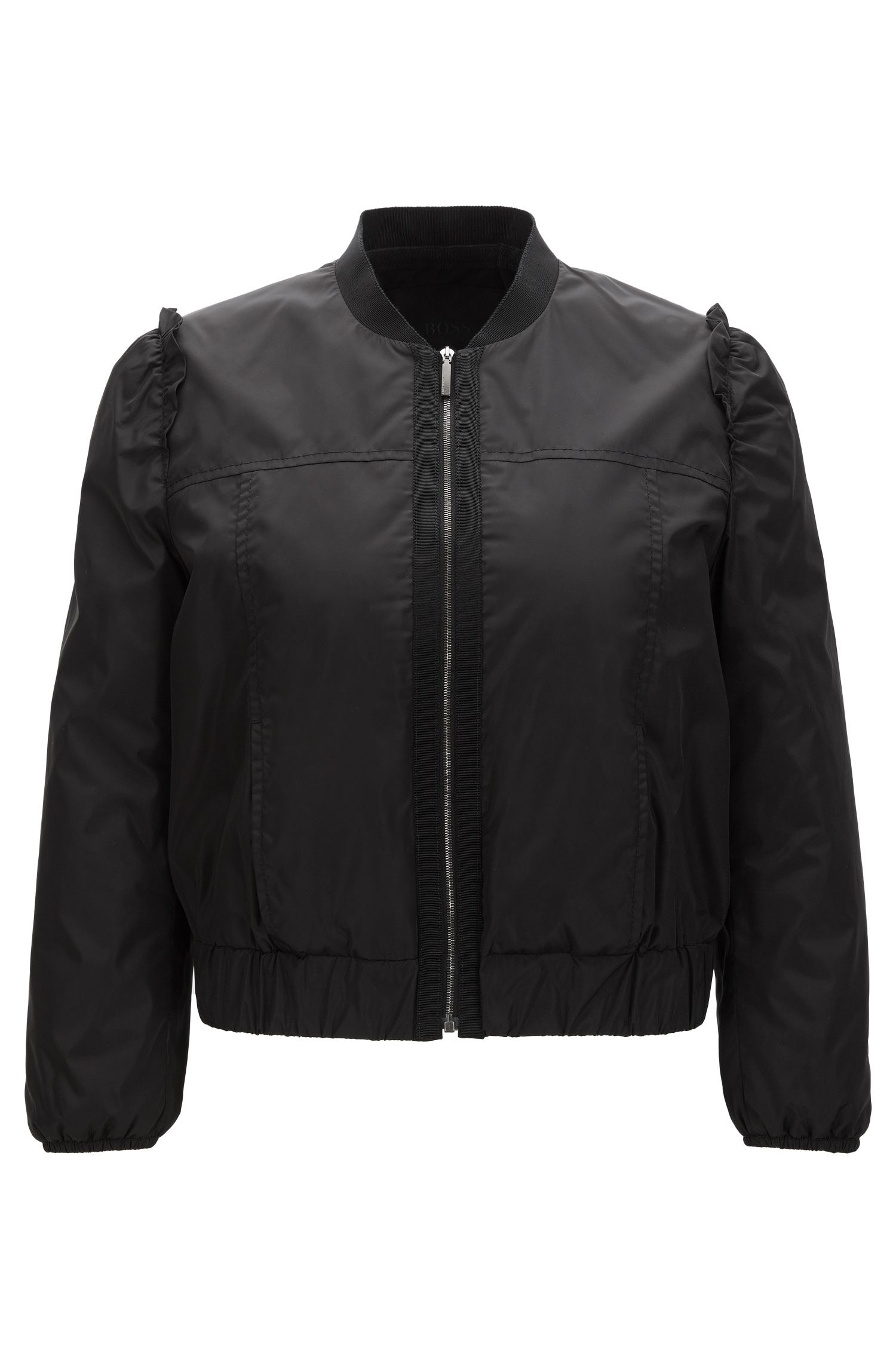 Frilled bomber jacket in water-repellent fabric