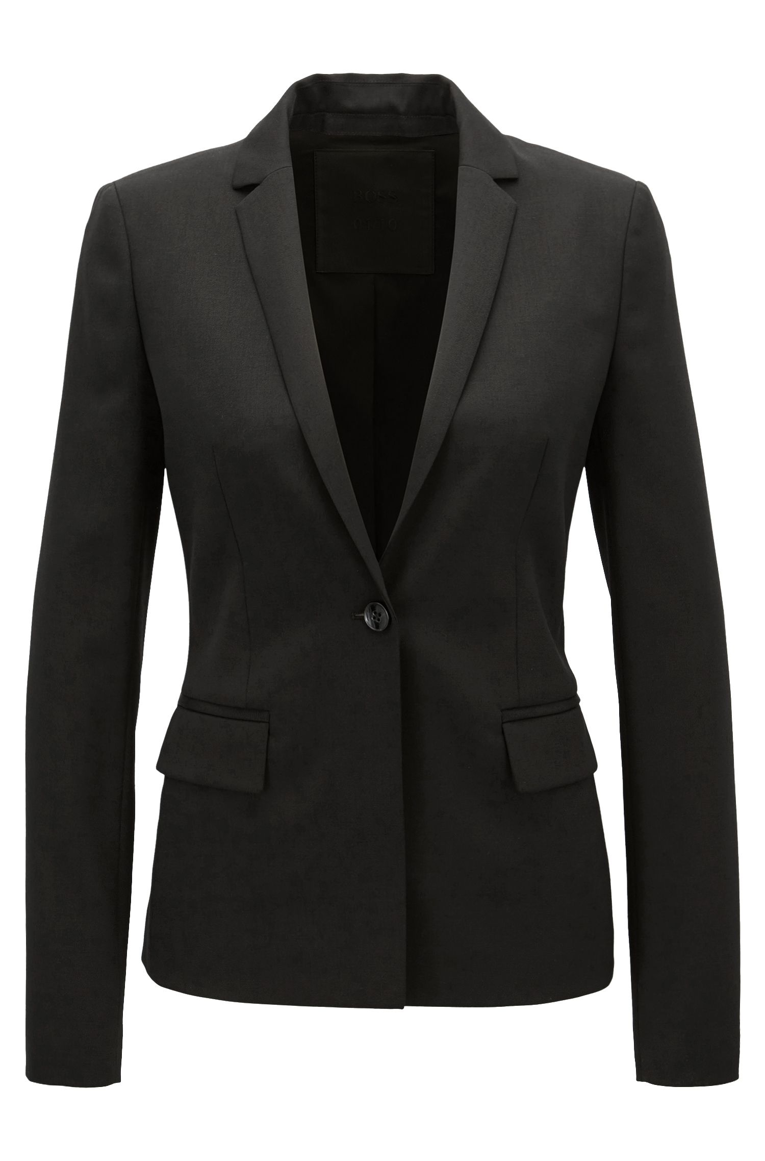 Regular-fit blazer van scheerwol met stretch