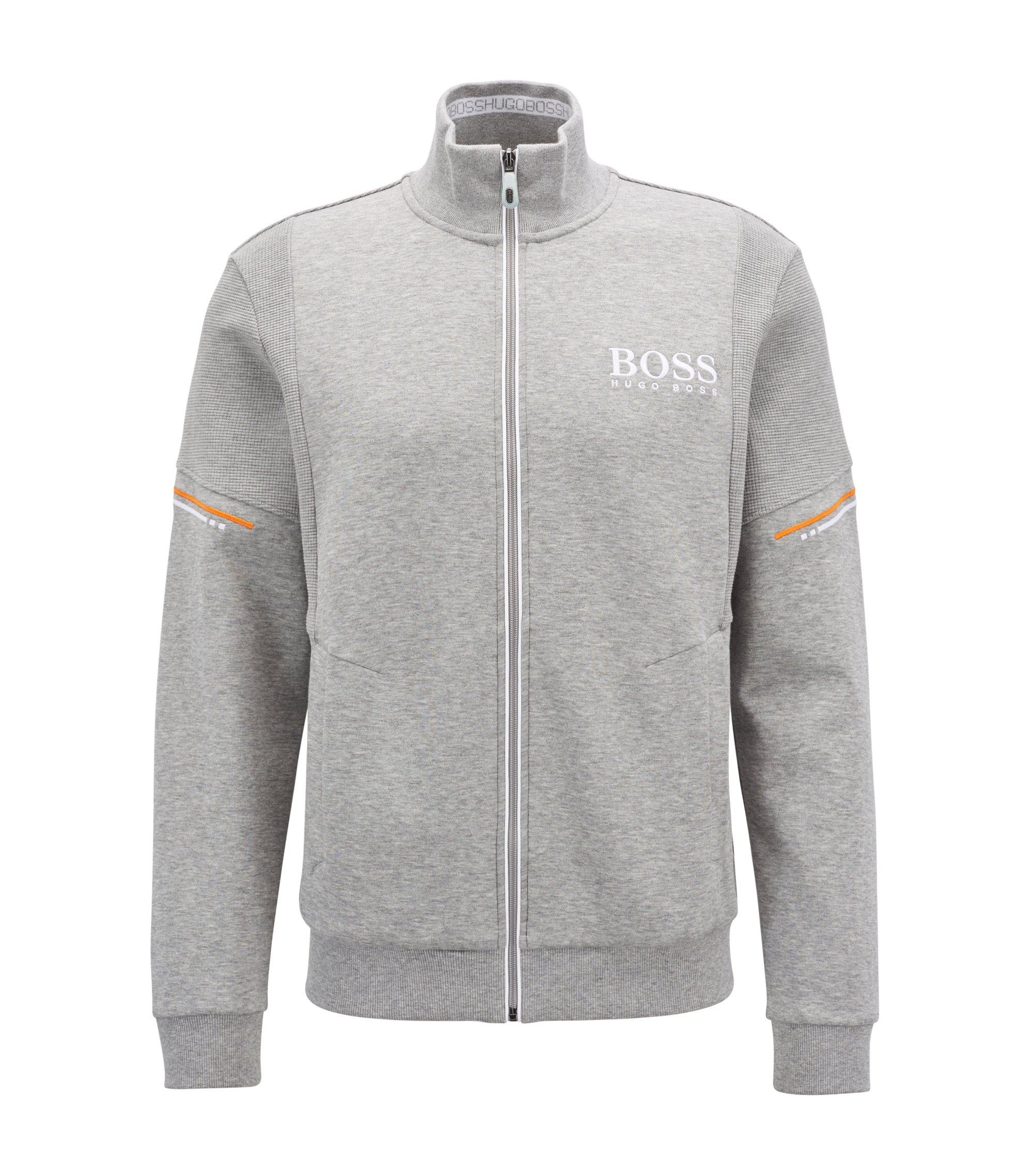Zip-through sweatshirt with tonal structured panels, Light Grey