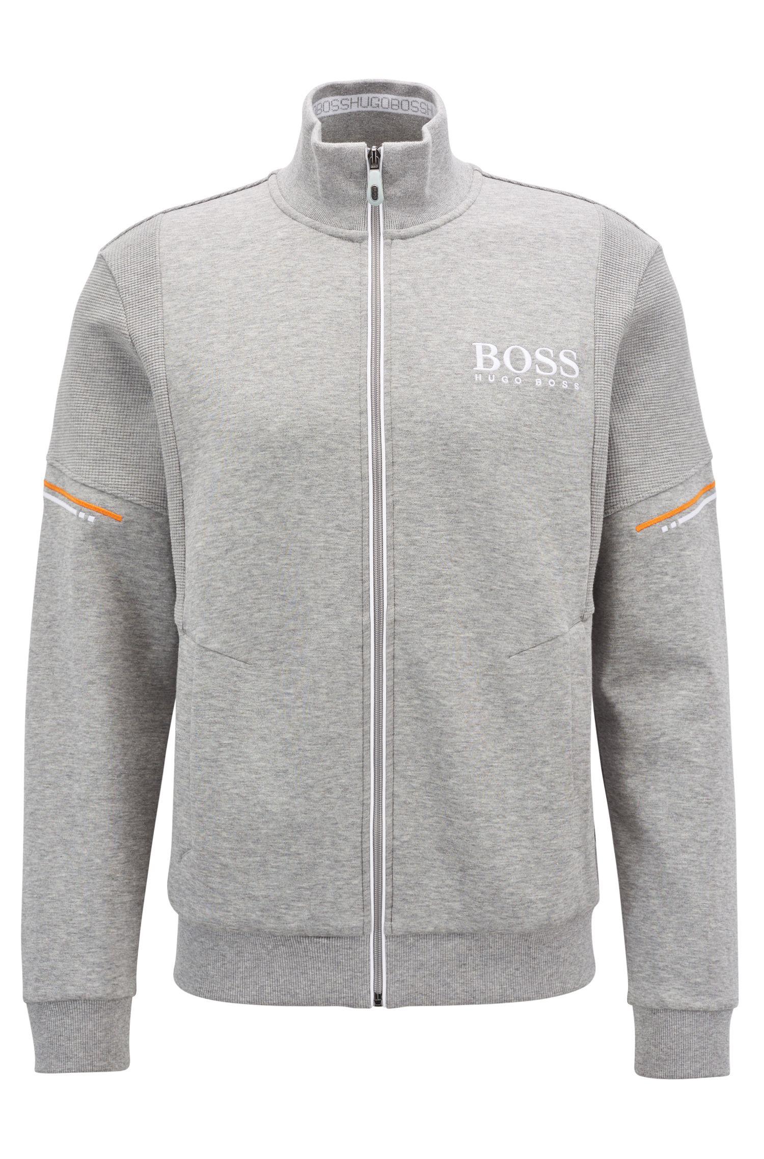 Sweatshirt mit Reißverschluss und tonalen, strukturierten Einsätzen, Hellgrau