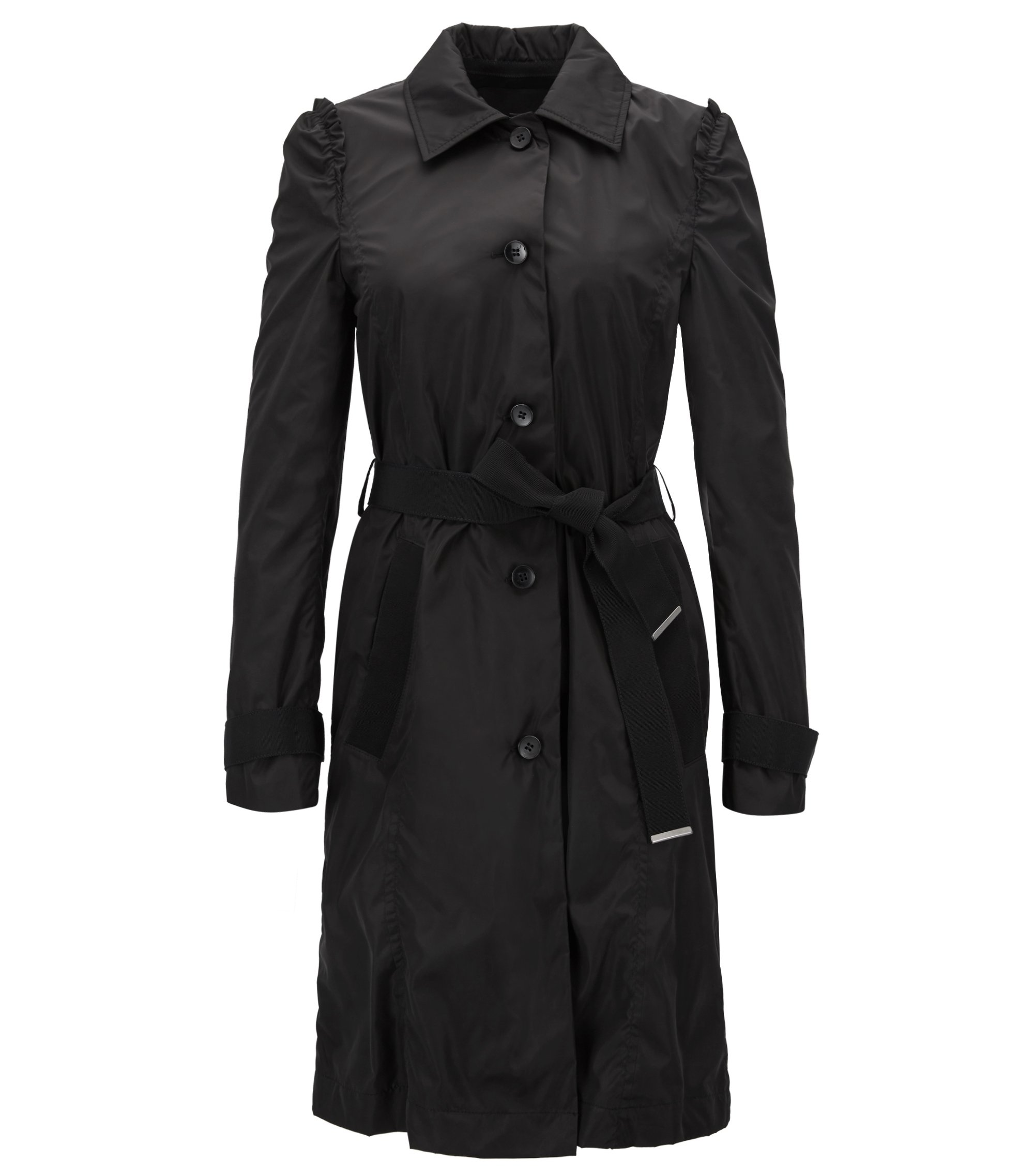 Trench coat in water-repellent technical fabric, Black