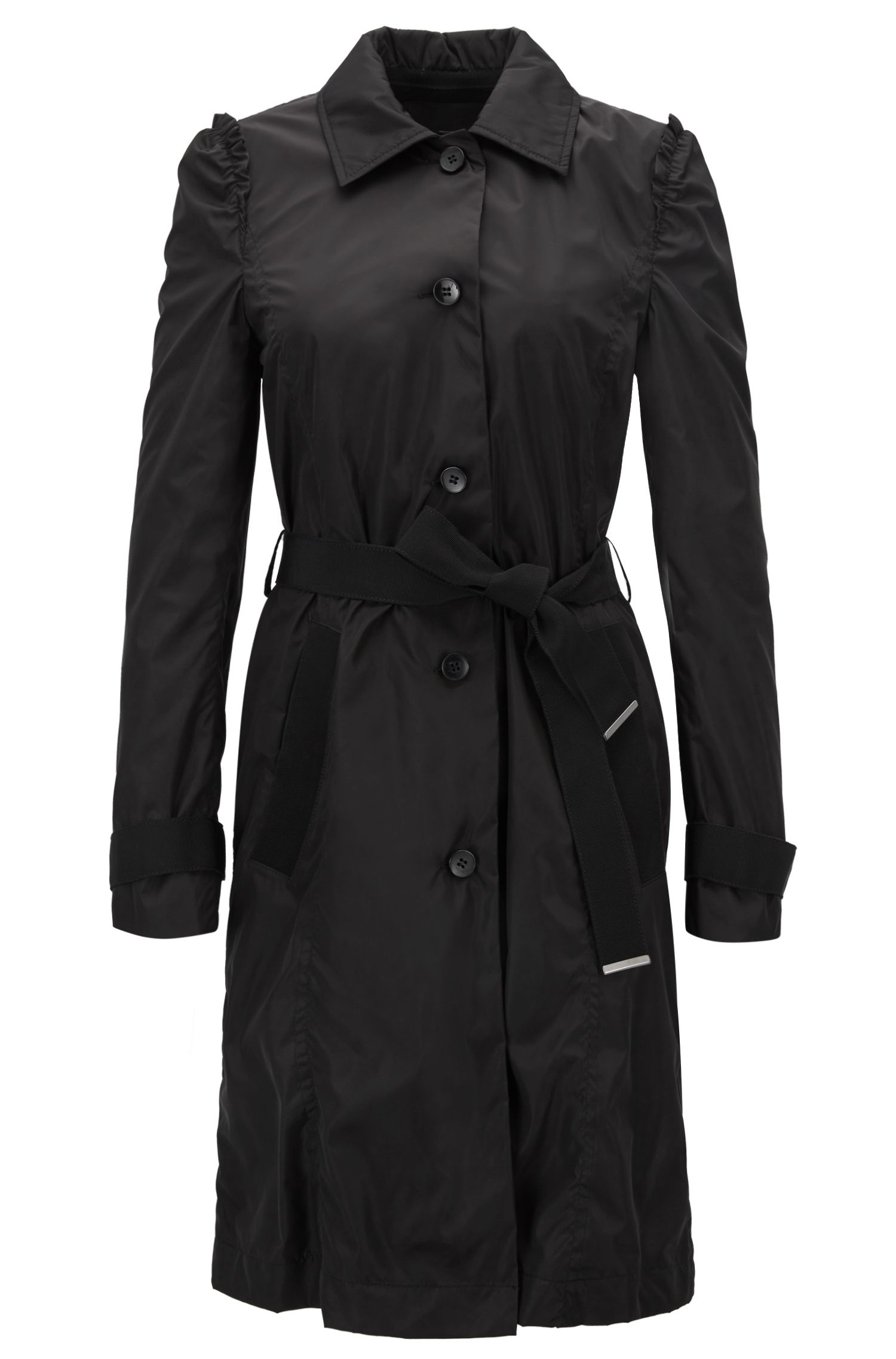 Trench coat in water-repellent technical fabric