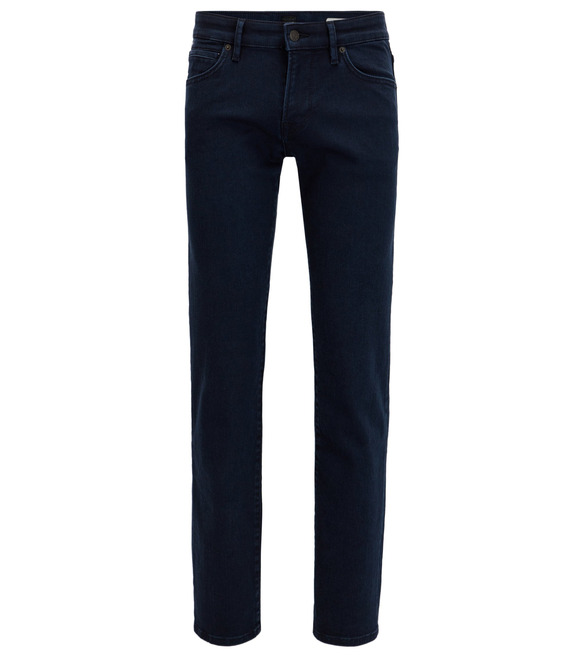Jeans regular fit blu in comodo denim elasticizzato, Blu scuro
