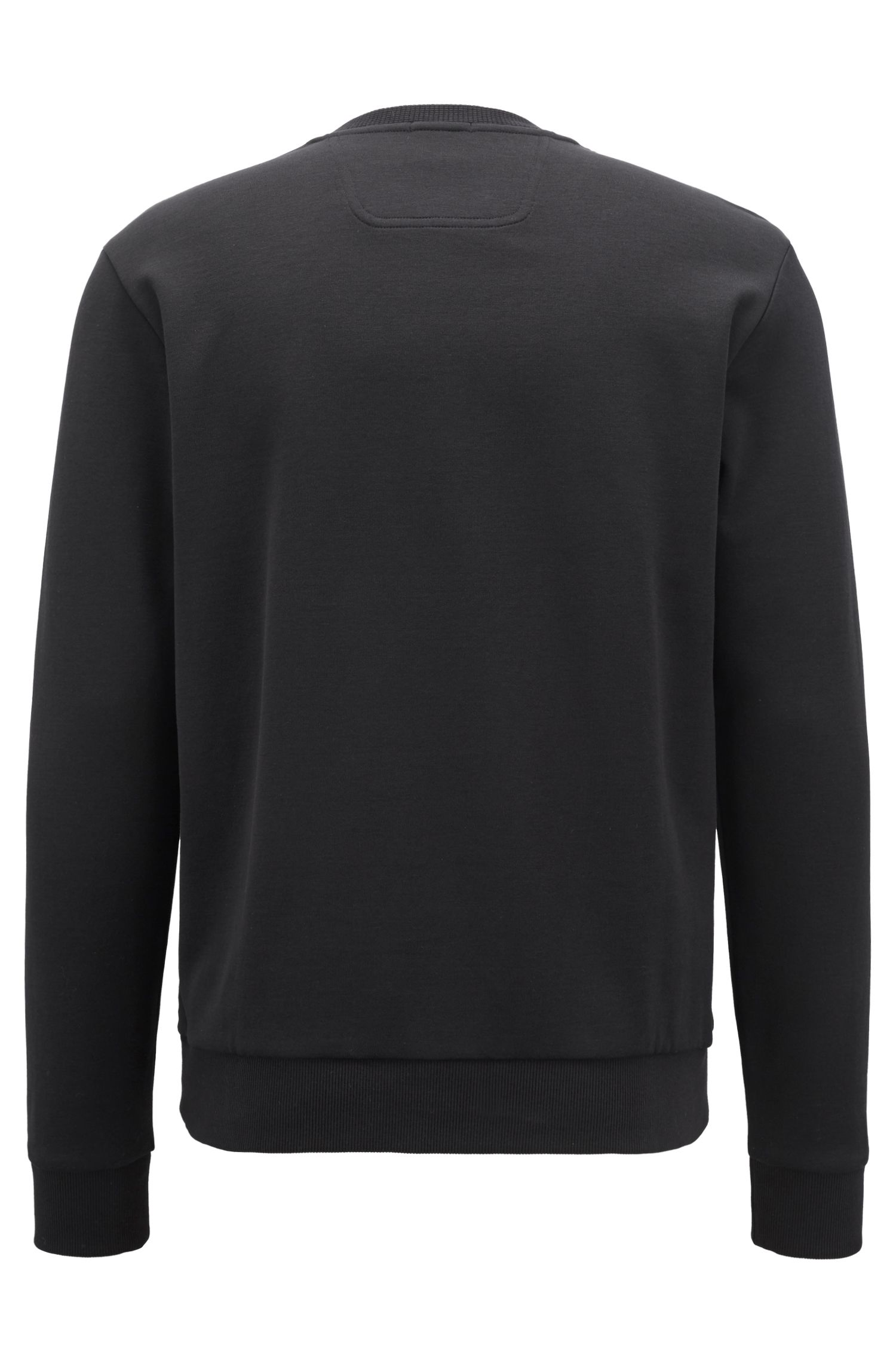 Crew-neck logo sweatshirt in a cotton blend, Black