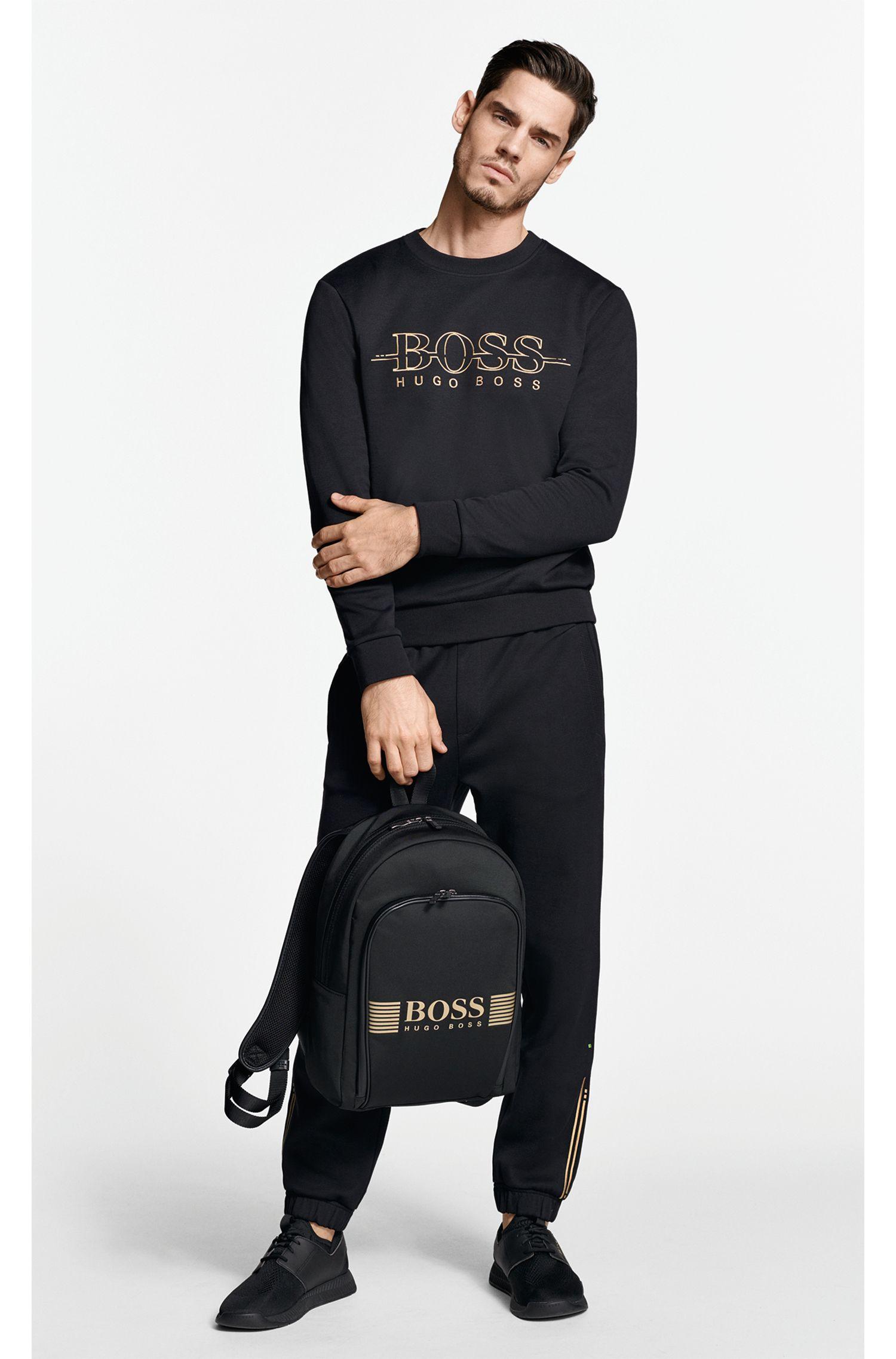 Sweater met ronde hals en logo van een katoenmix, Zwart