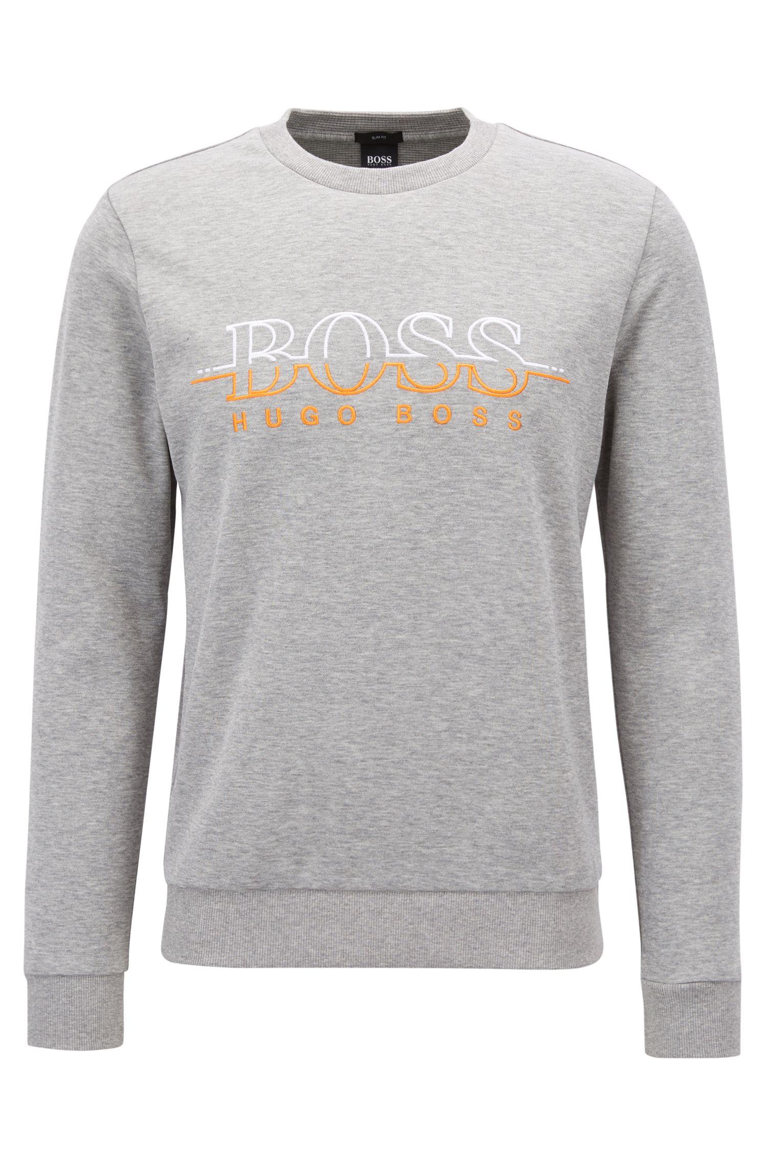 Sweater met ronde hals en logo van een katoenmix, Lichtgrijs