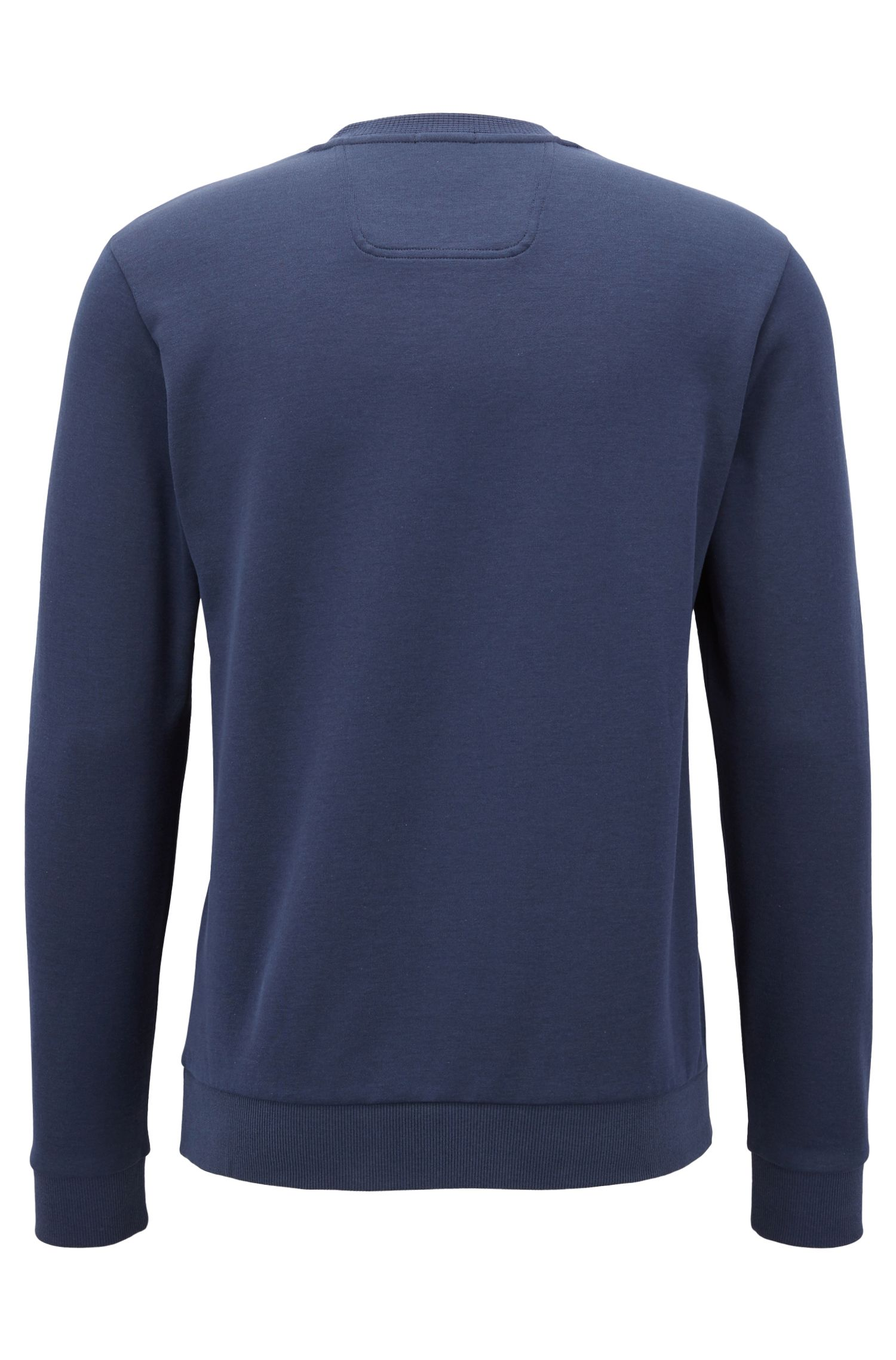Sudadera de cuello redondo en mezcla de algodón, Azul oscuro