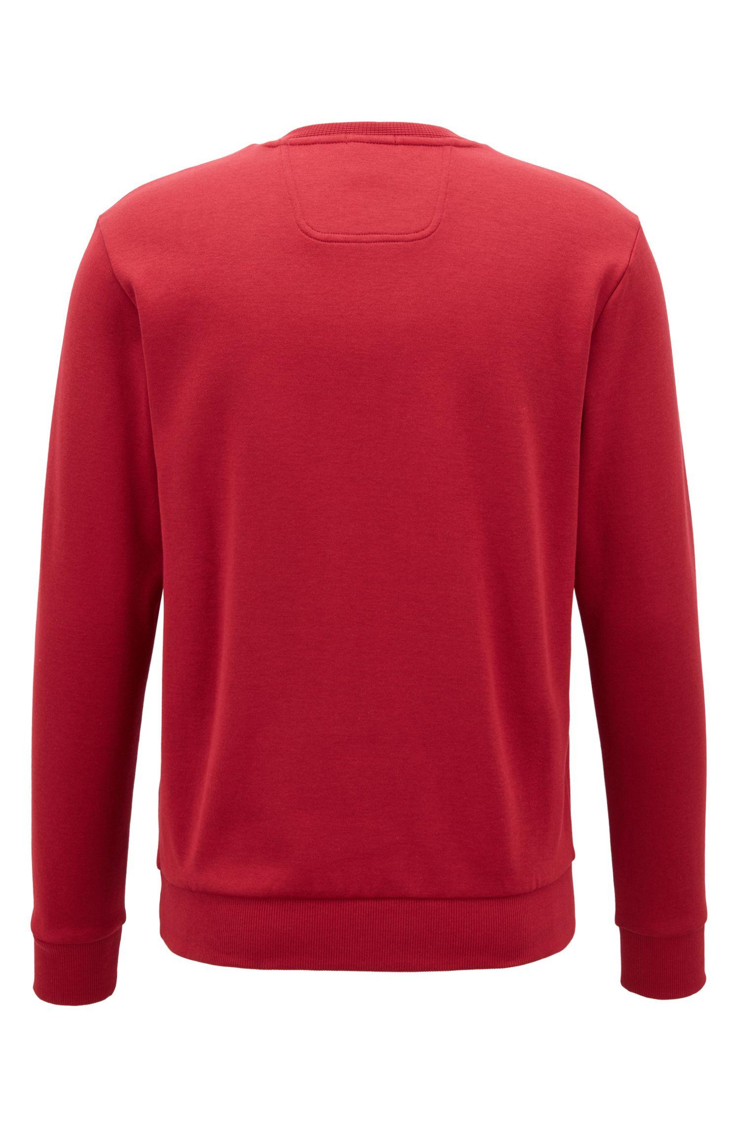 Sweater met ronde hals en logo van een katoenmix, Donkerrood