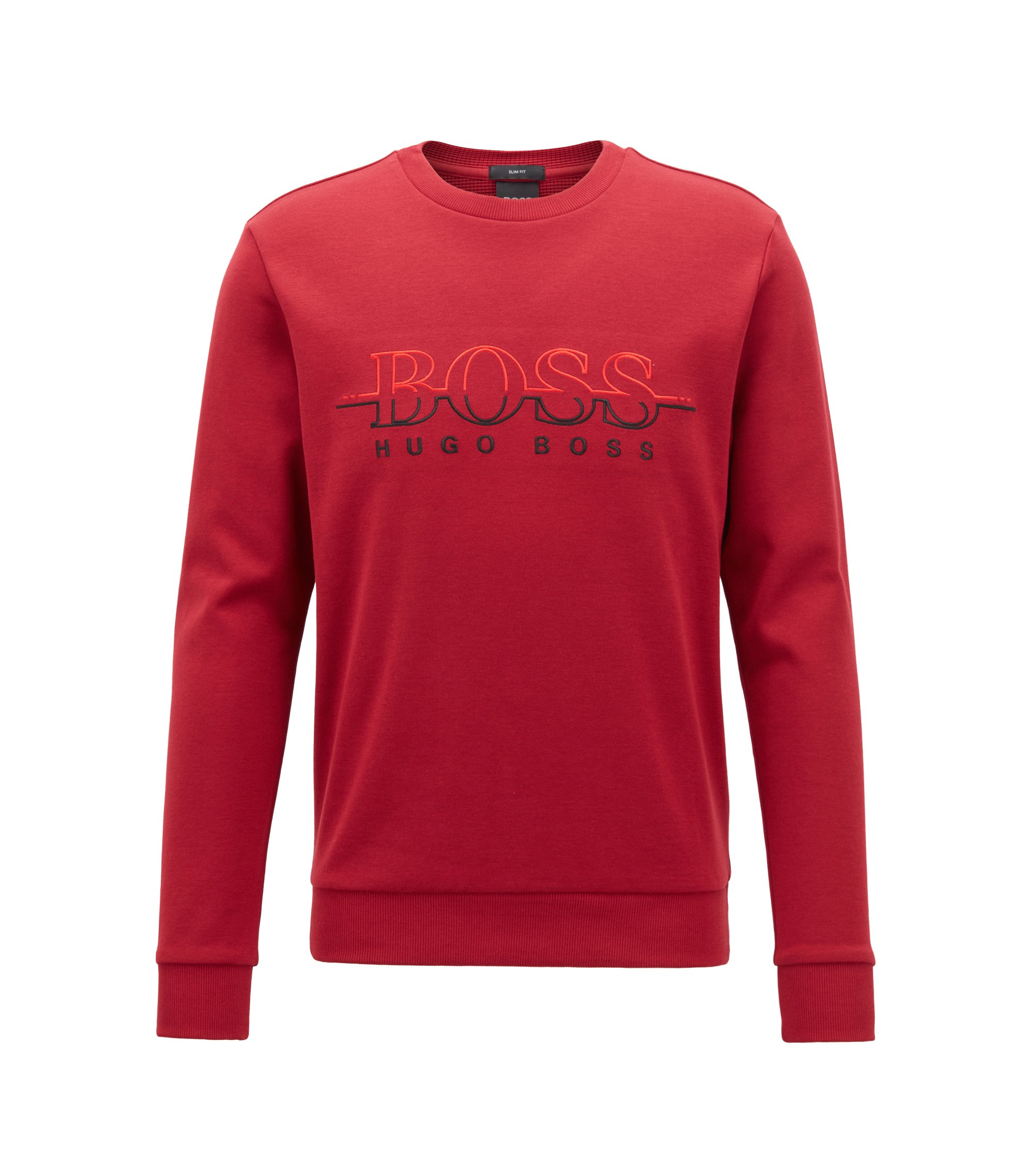 Crew-neck logo sweatshirt in a cotton blend, Dark Red