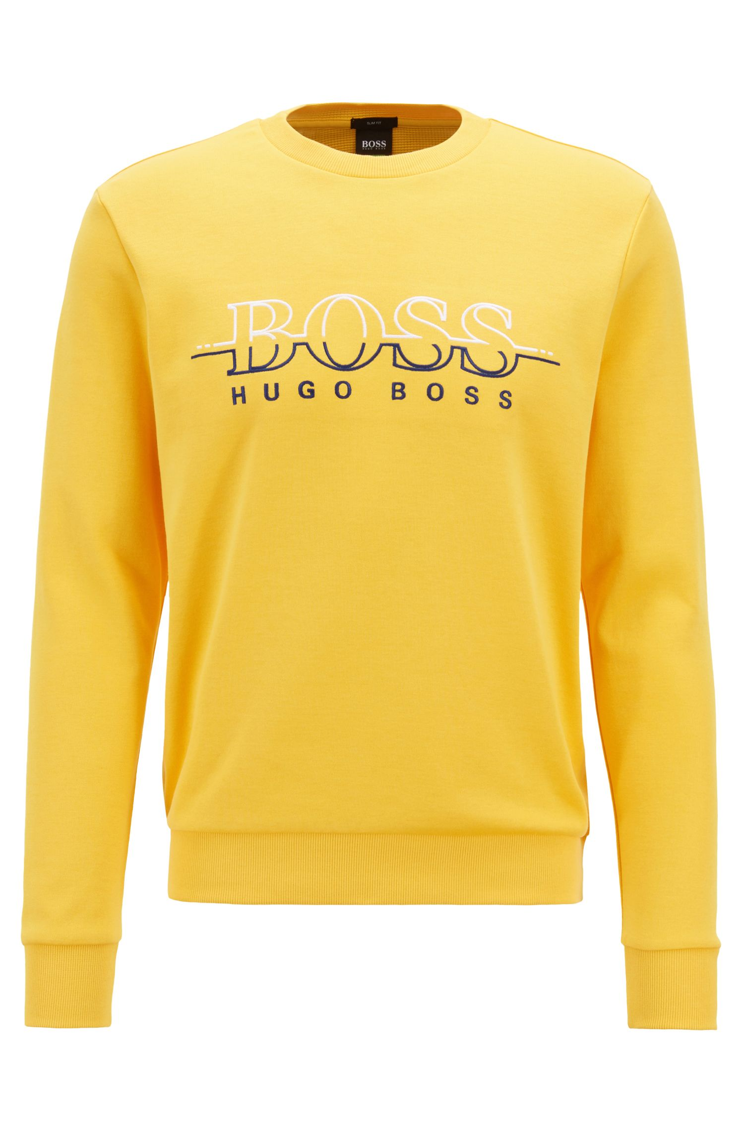 Crew-neck logo sweatshirt in a cotton blend, Yellow