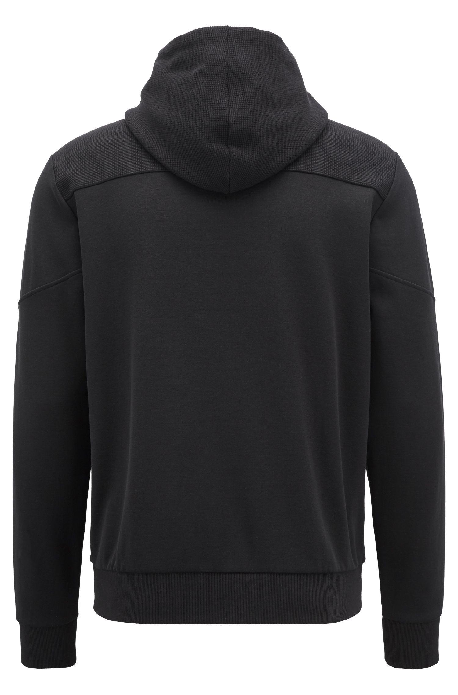 Sudadera con capucha con cremallera en contraste y detalle de logo, Negro