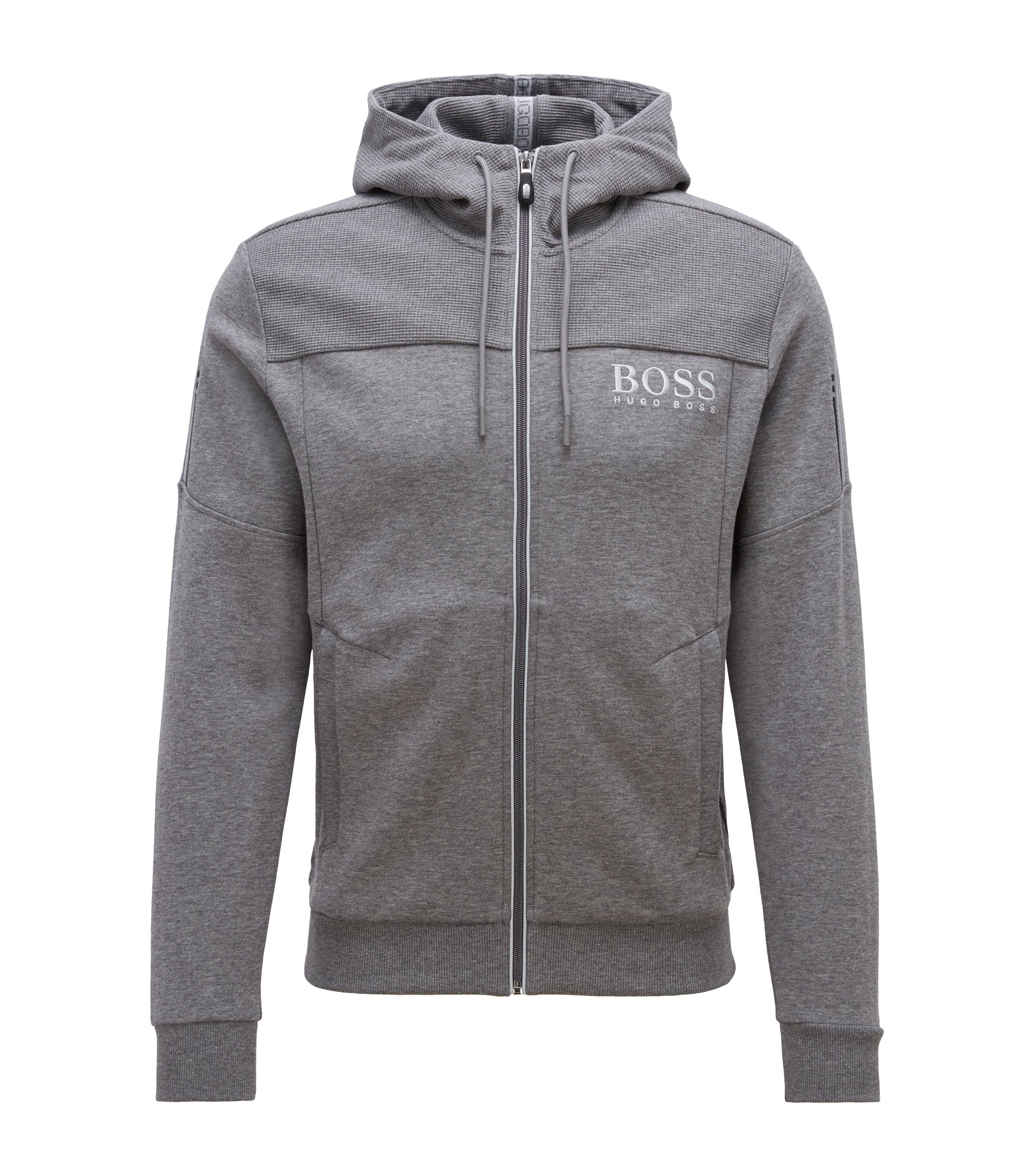 Hooded sweatshirt with contrast zip and logo detail, Grey