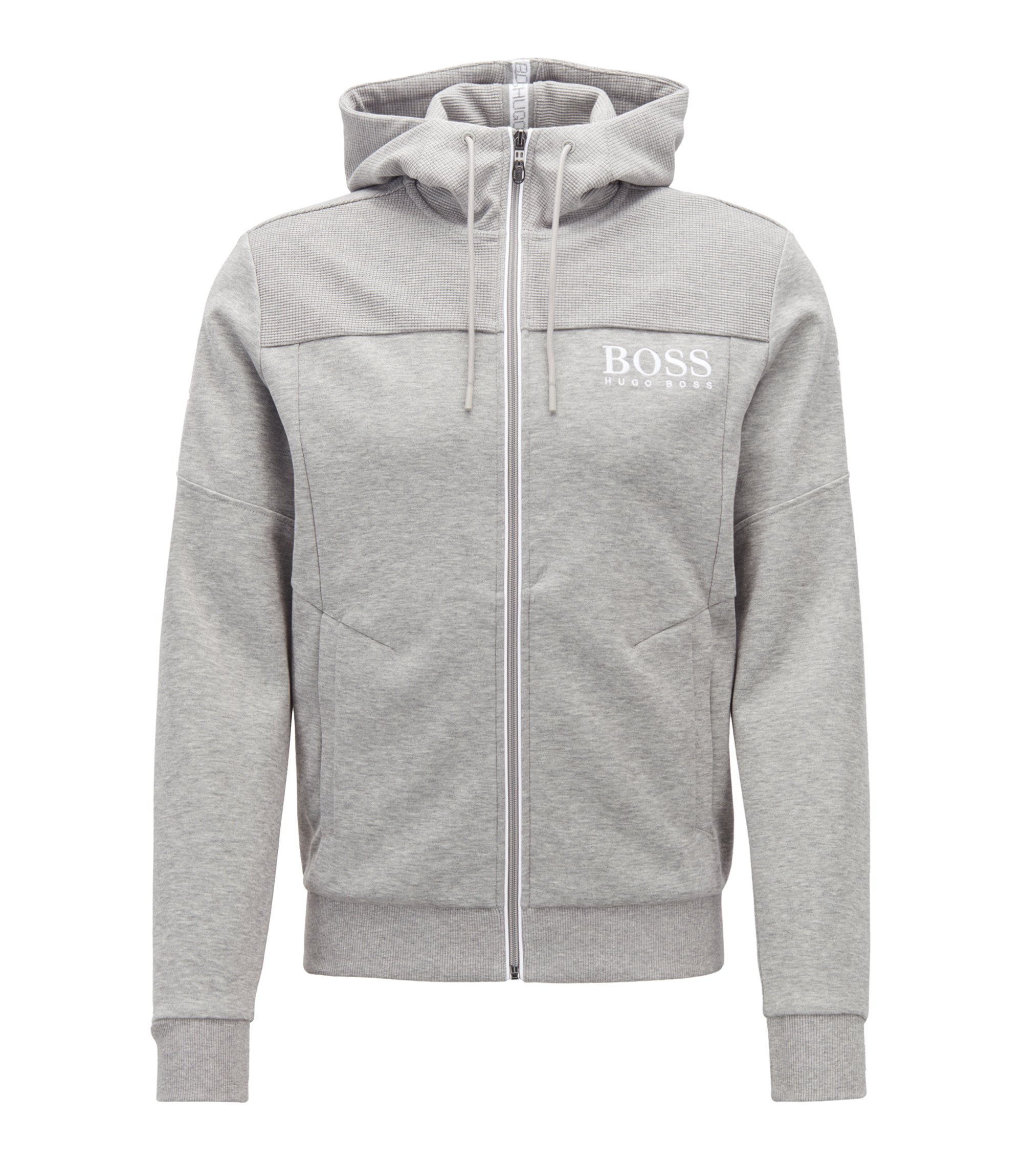 Hooded sweatshirt with contrast zip and logo detail, Light Grey