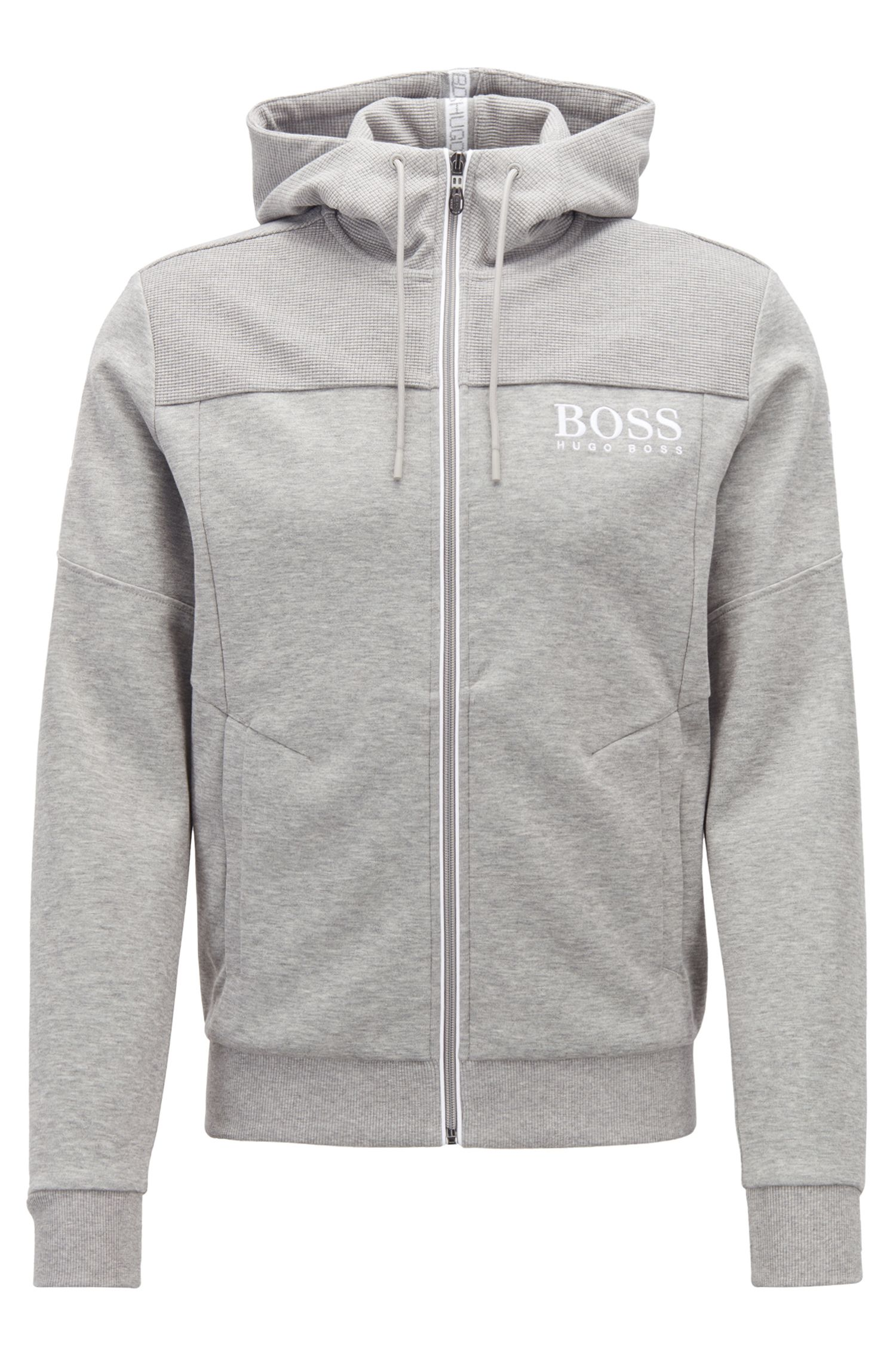 Hooded sweatshirt with contrast zip and logo detail
