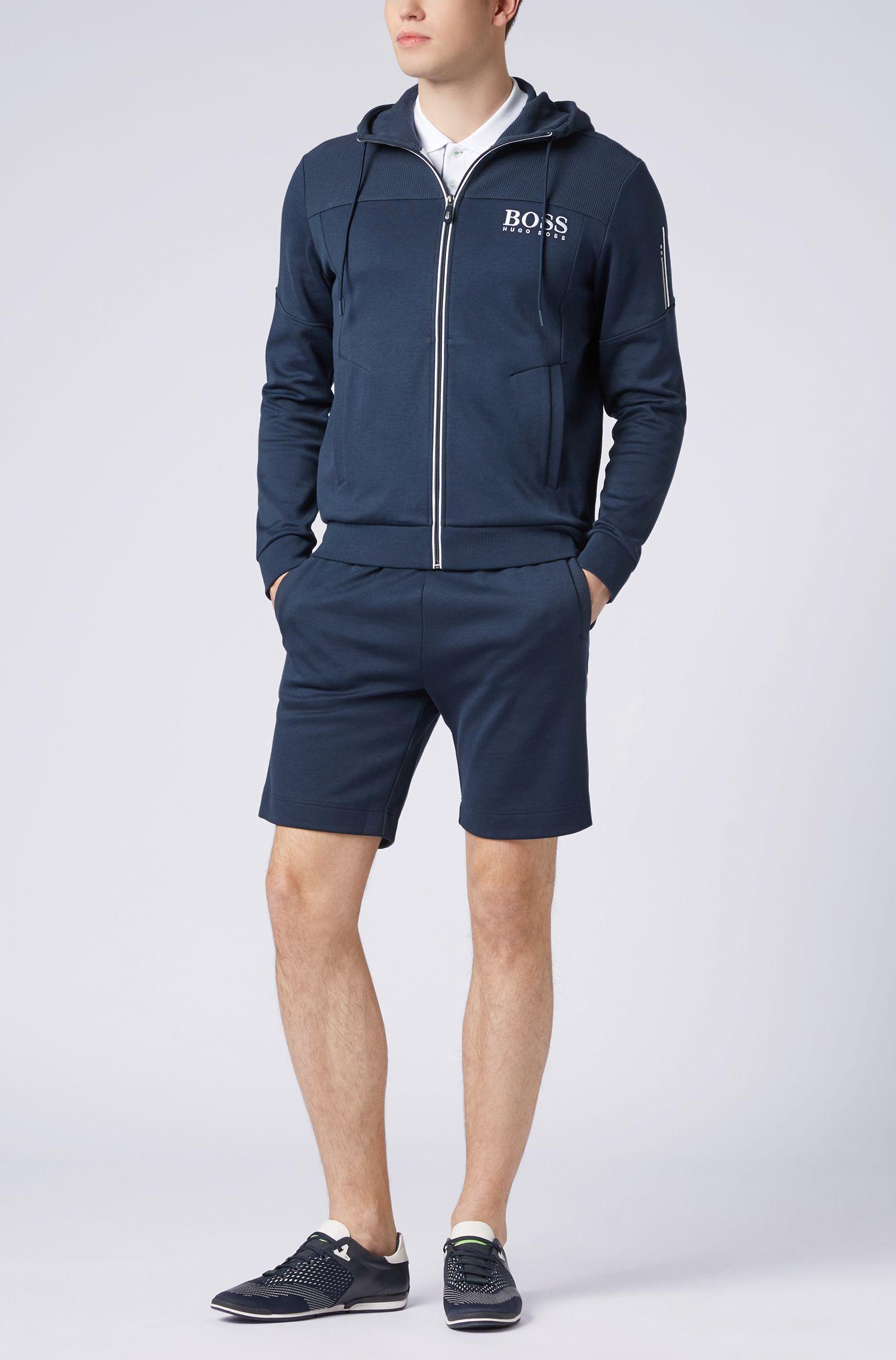 Kapuzen-Sweatshirt mit Logo-Print und kontrastfarbenem Reißverschluss, Dunkelblau