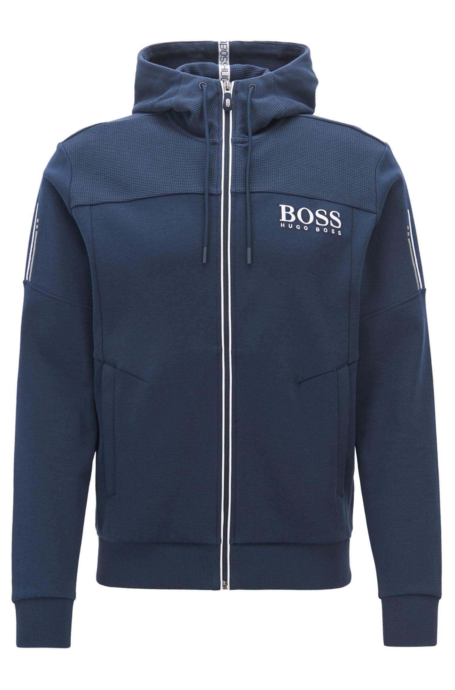 Sweater met capuchon en contrasterende ritssluiting en logodetail, Donkerblauw