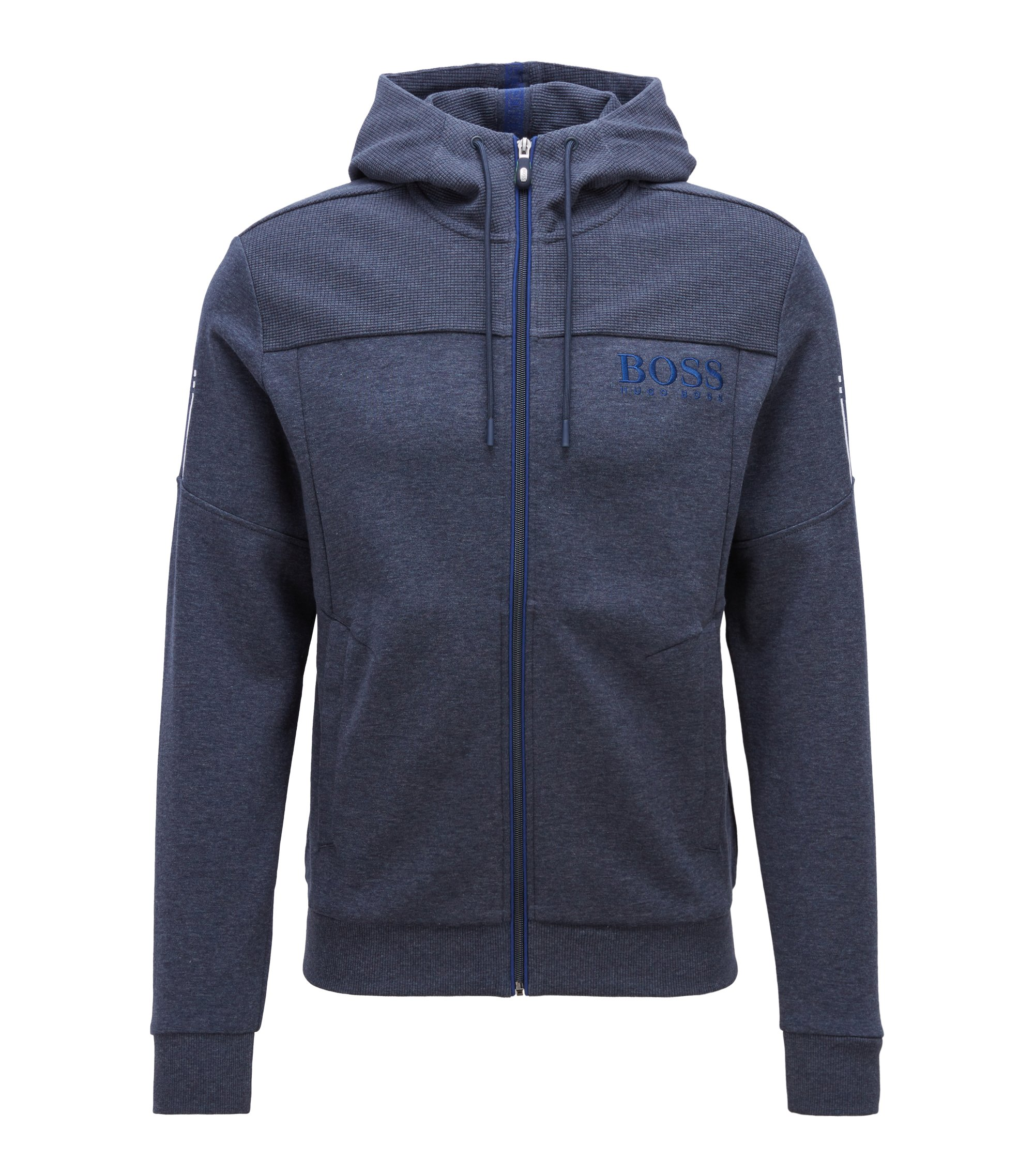 Hooded sweatshirt with contrast zip and logo detail, Dark Blue