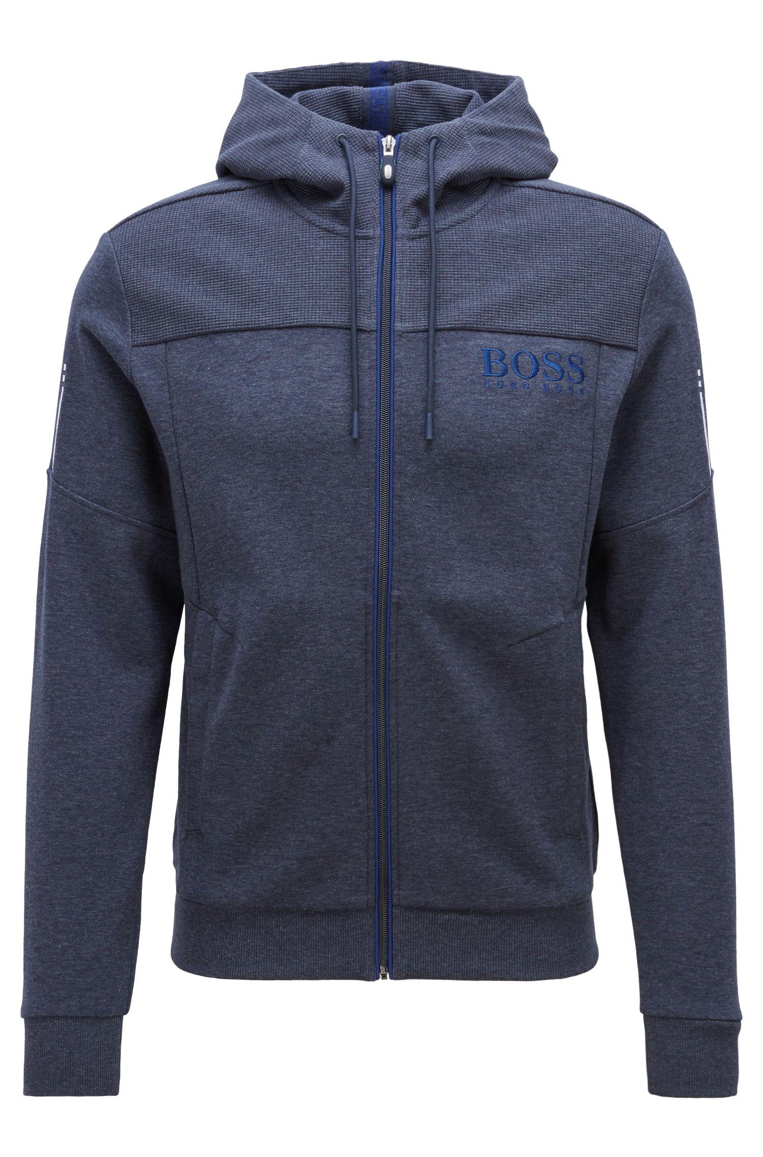 Hooded sweatshirt with contrast zip and logo detail, Dark Blue