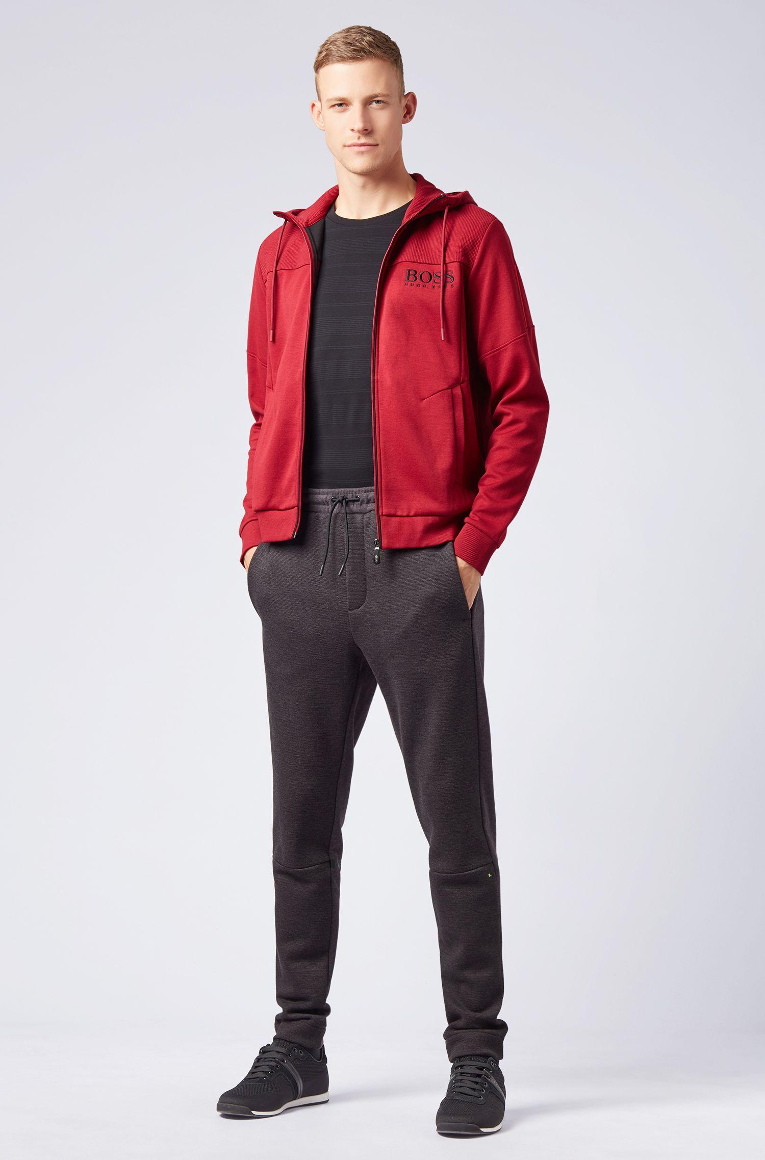 Kapuzen-Sweatshirt mit Logo-Print und kontrastfarbenem Reißverschluss, Dunkelrot