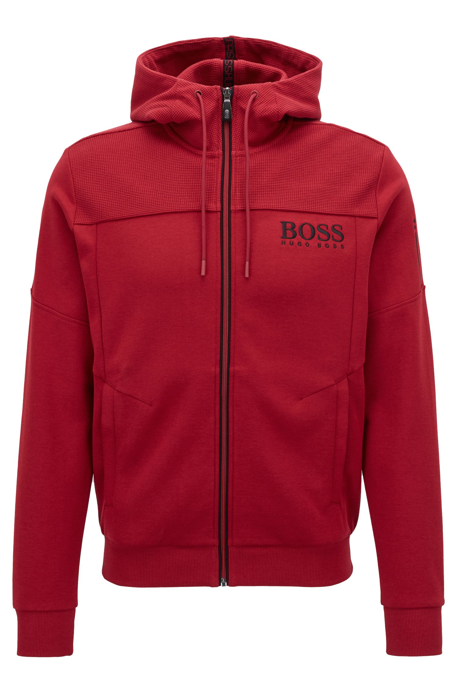 Hooded sweatshirt with contrast zip and logo detail, Dark Red