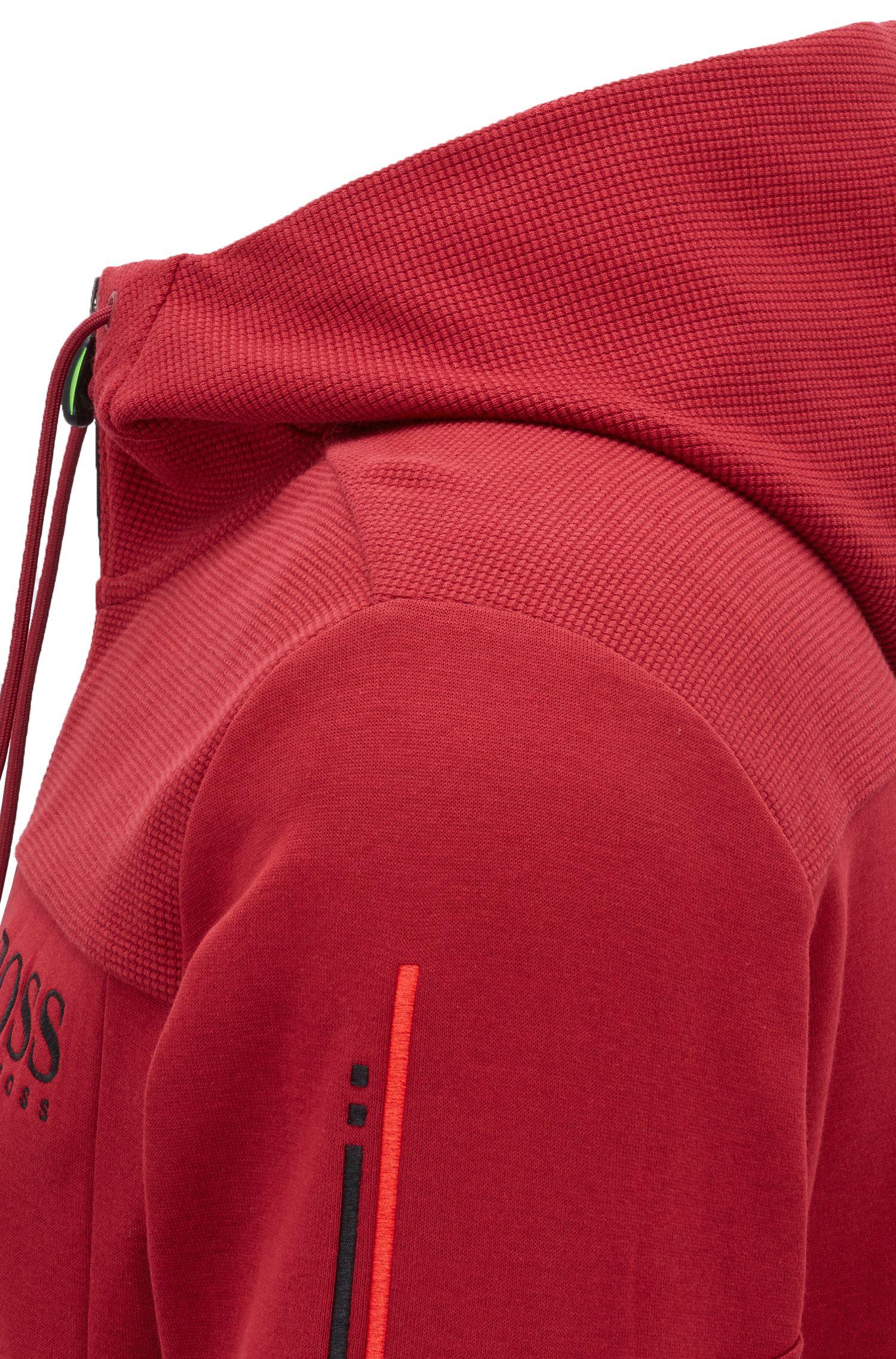 Sudadera con capucha con cremallera en contraste y detalle de logo, Rojo oscuro