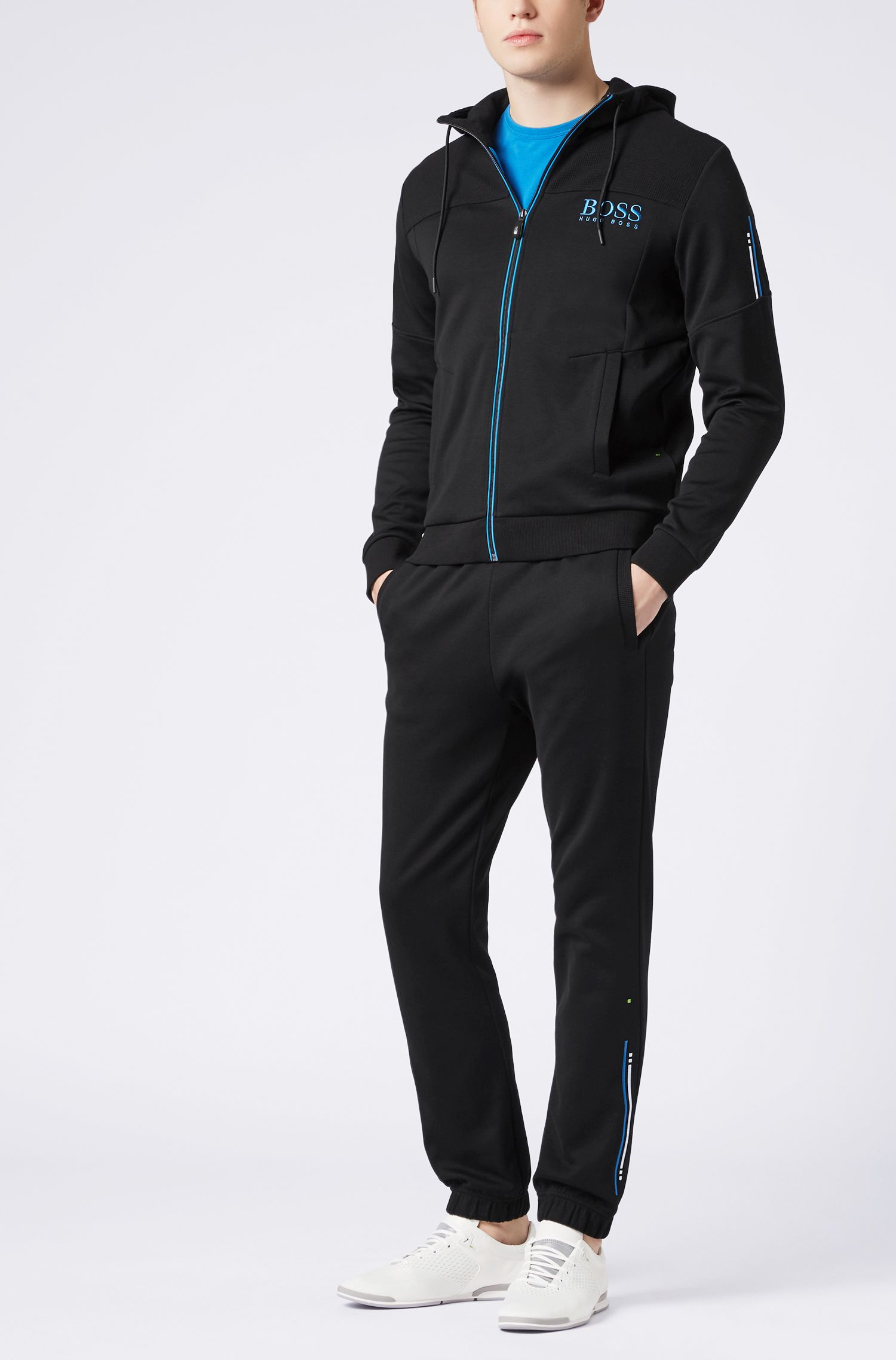 Cuffed slim-fit jogging bottoms with embroidered stripe