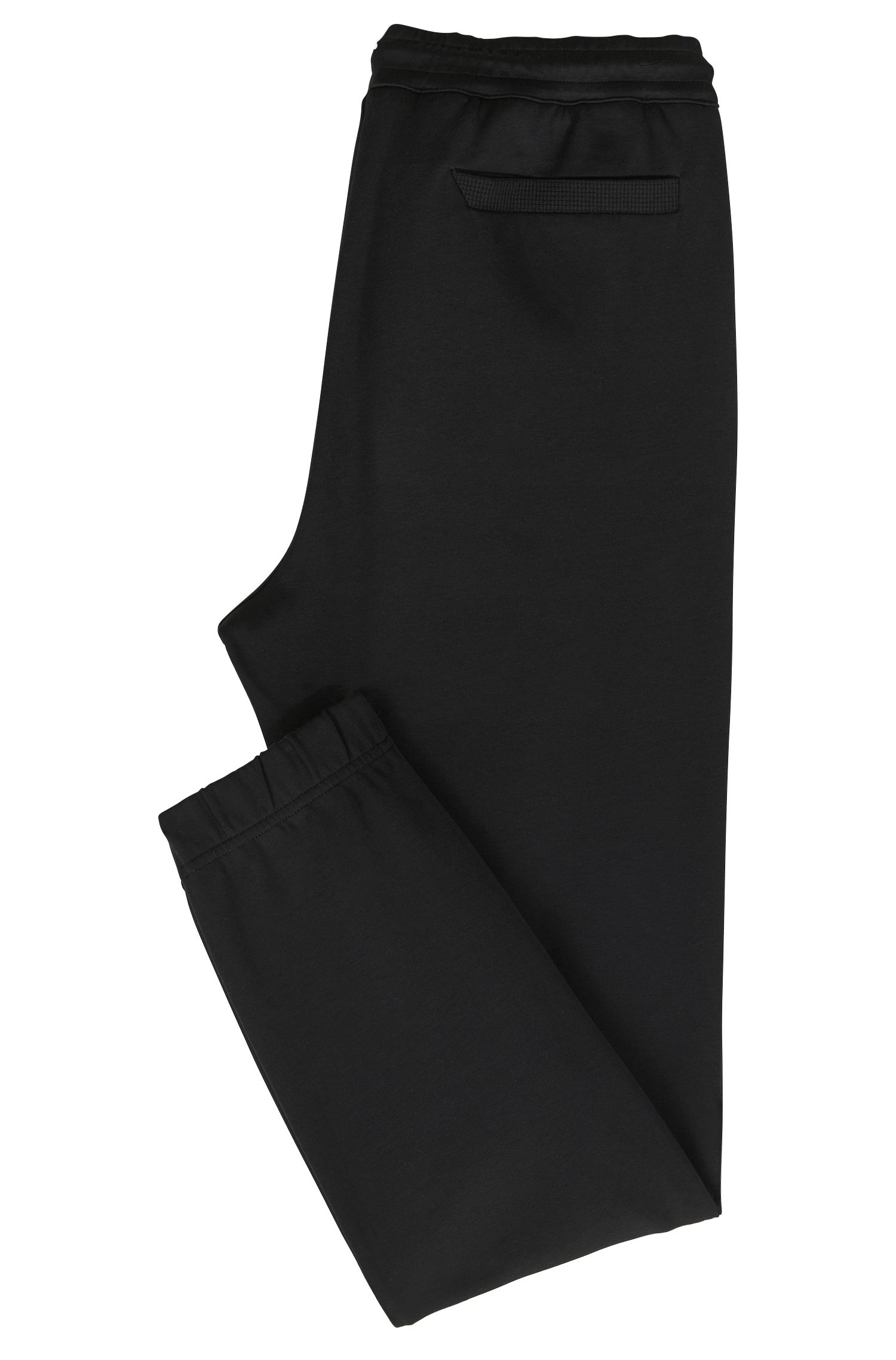 Cuffed slim-fit jogging bottoms with embroidered stripe, Black