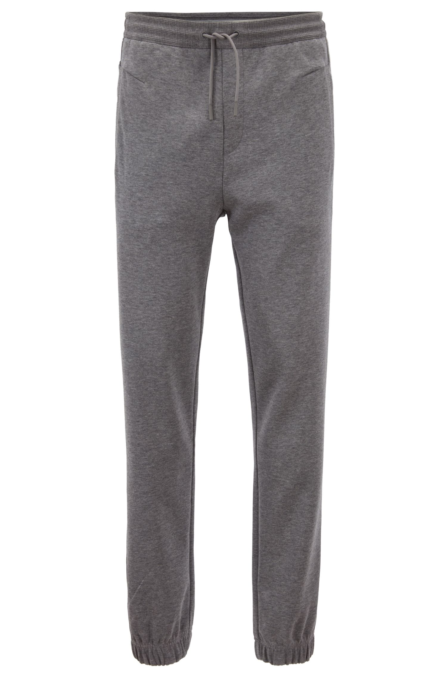 Cuffed slim-fit jogging bottoms with embroidered stripe, Grey