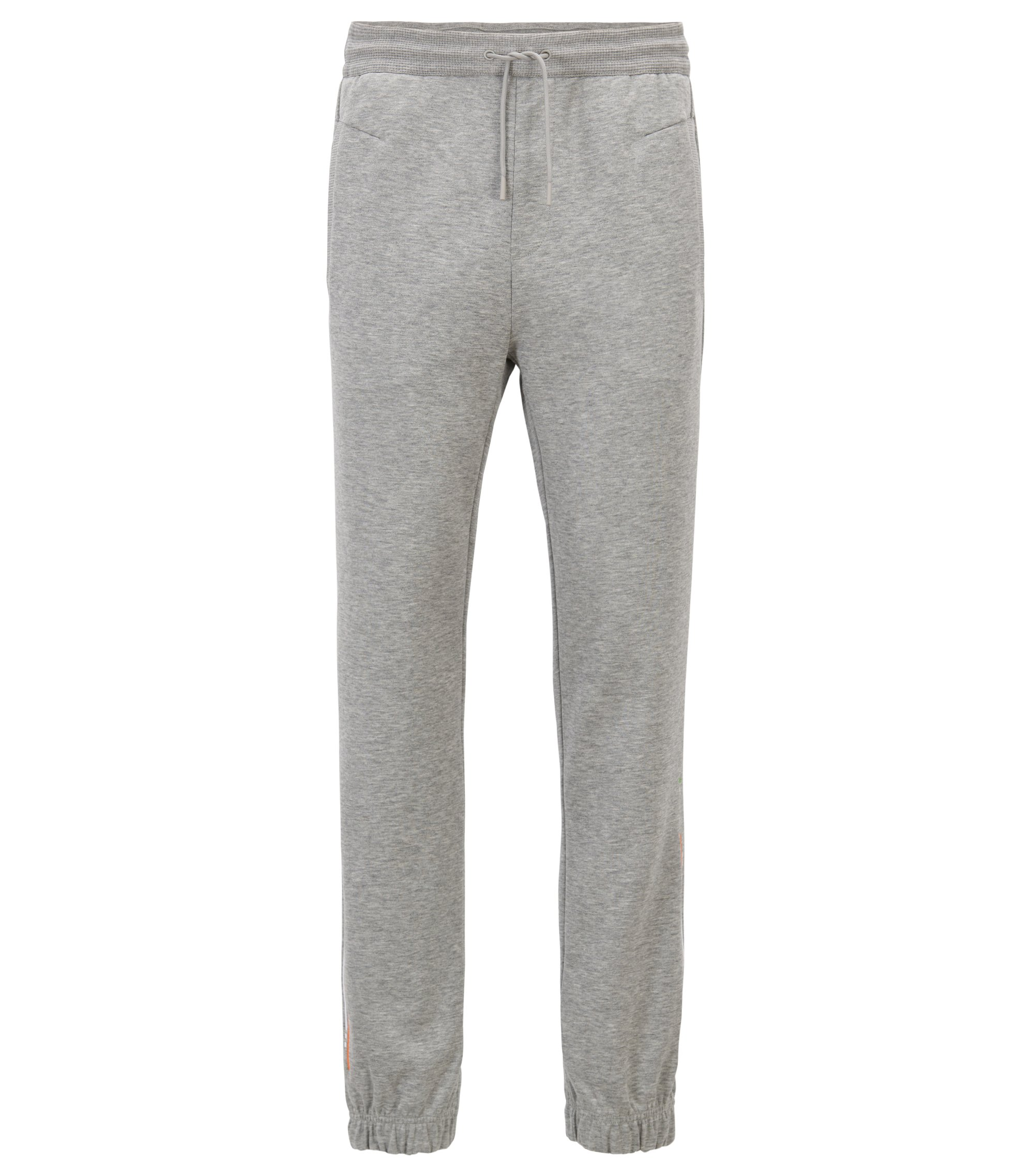 Cuffed slim-fit jogging bottoms with embroidered stripe, Light Grey