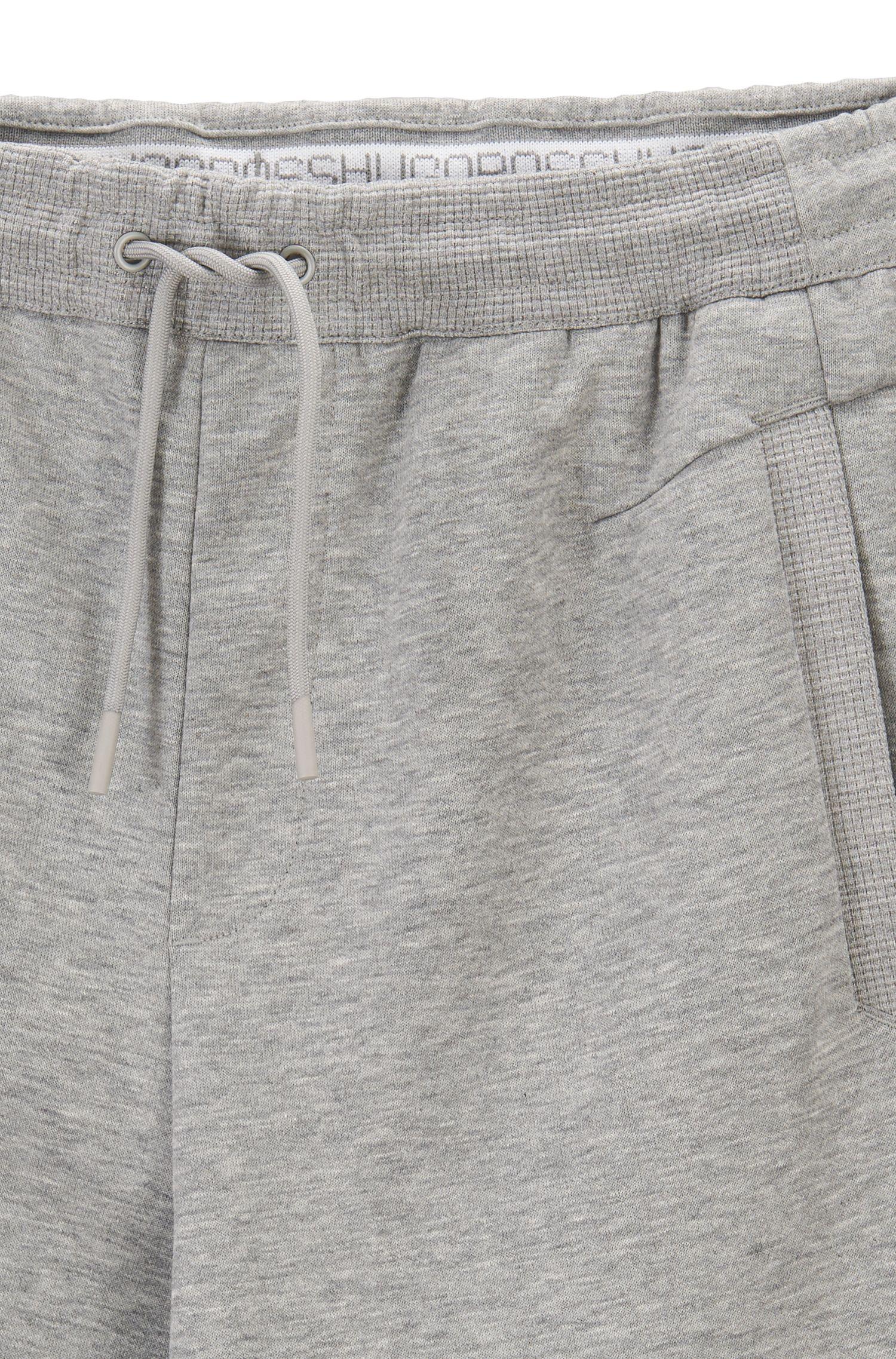Slim-fit joggingbroek met boorden en geborduurde streep, Lichtgrijs