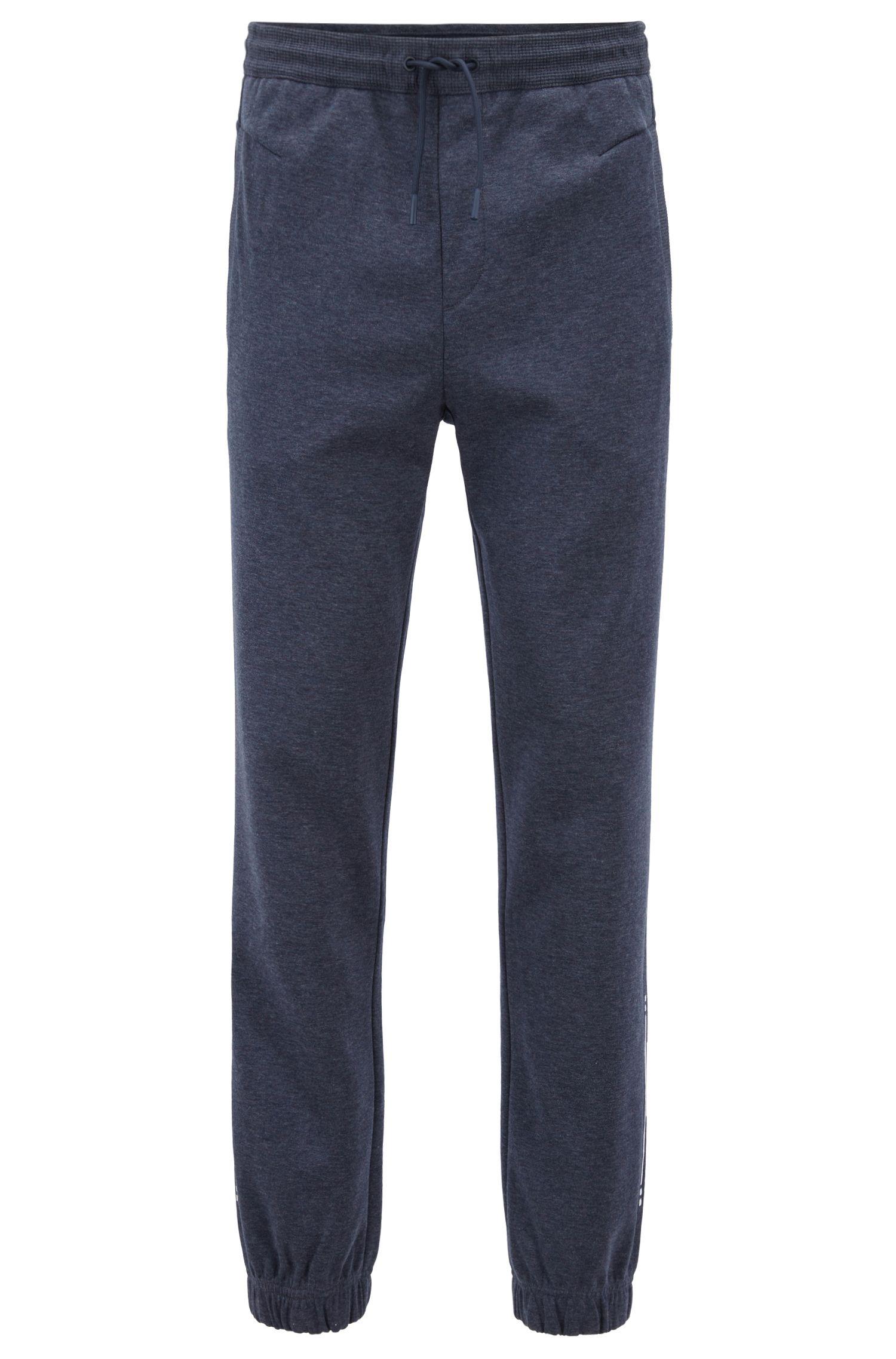Slim-fit joggingbroek met boorden en geborduurde streep, Donkerblauw