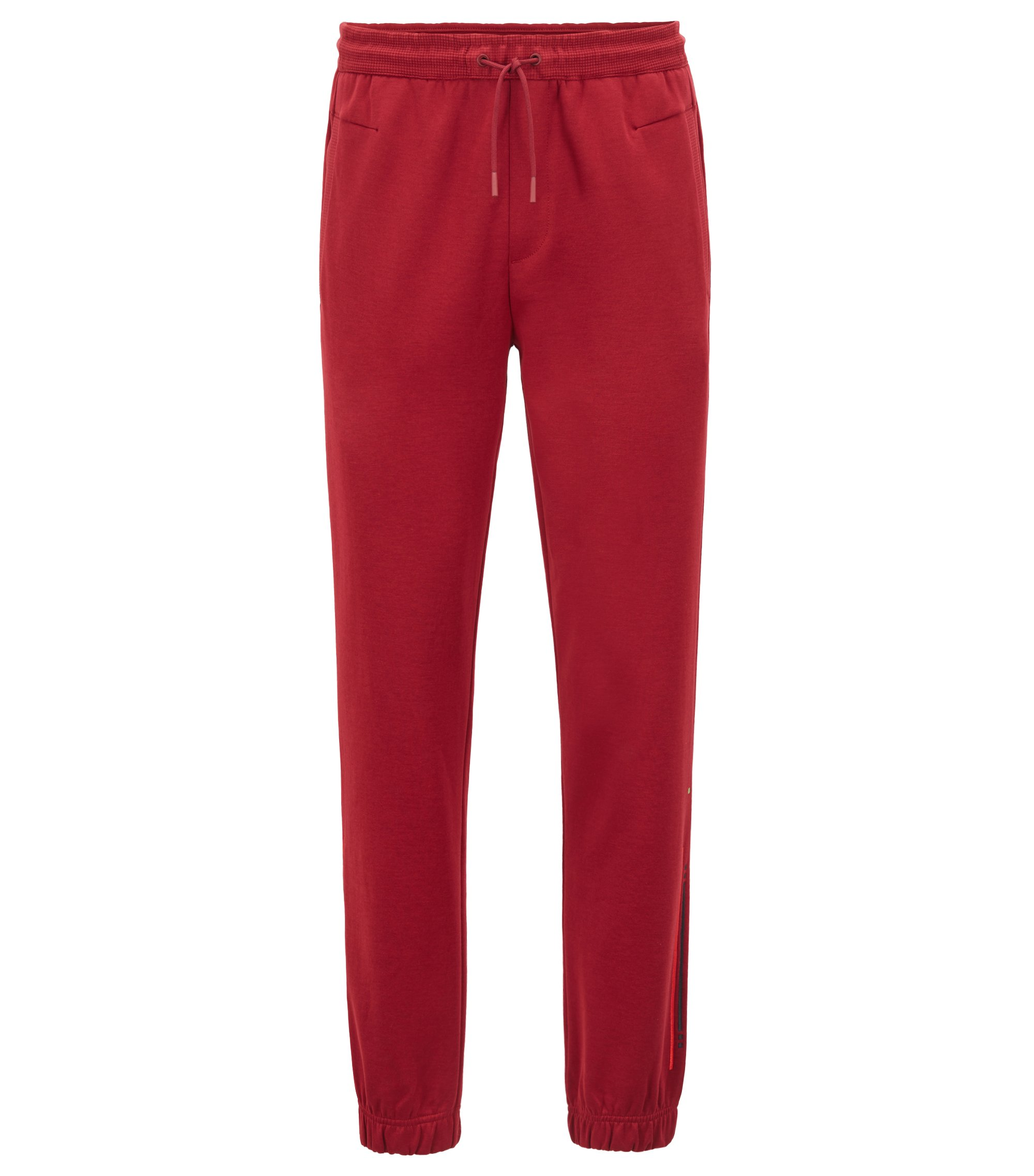 Cuffed slim-fit jogging bottoms with embroidered stripe, Dark Red