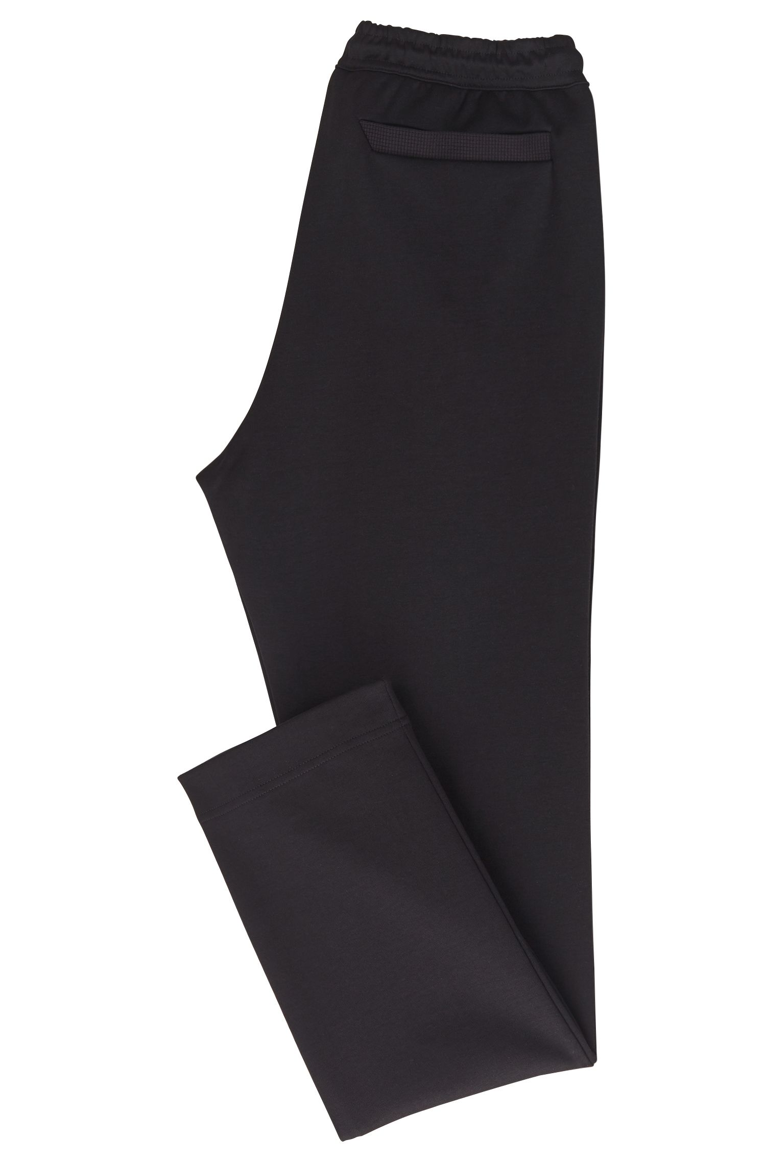Slim-fit jersey trousers with embroidered stripe open hems, Black