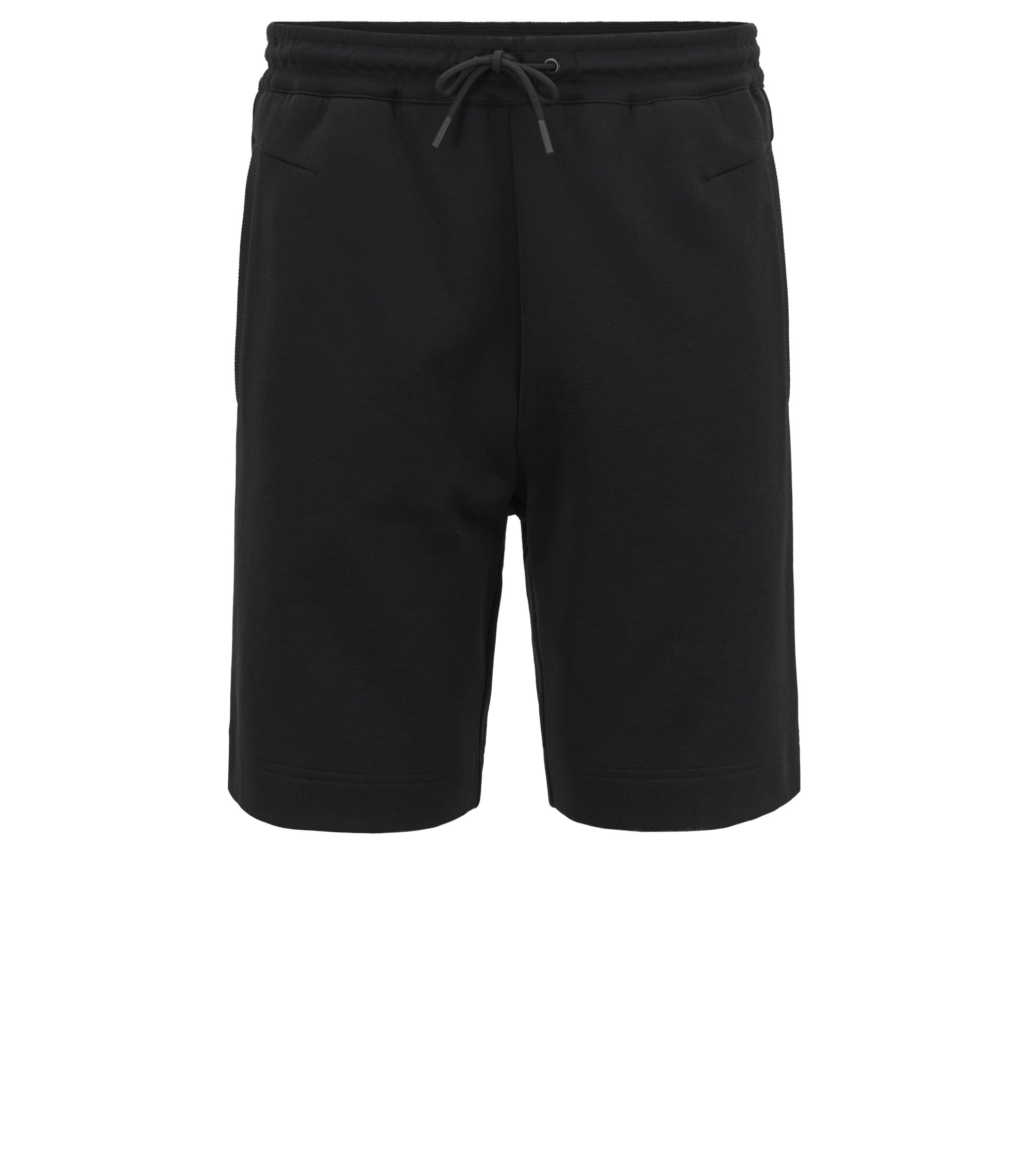 Slim-fit cotton-blend shorts with two-colour logo embroidery, Black