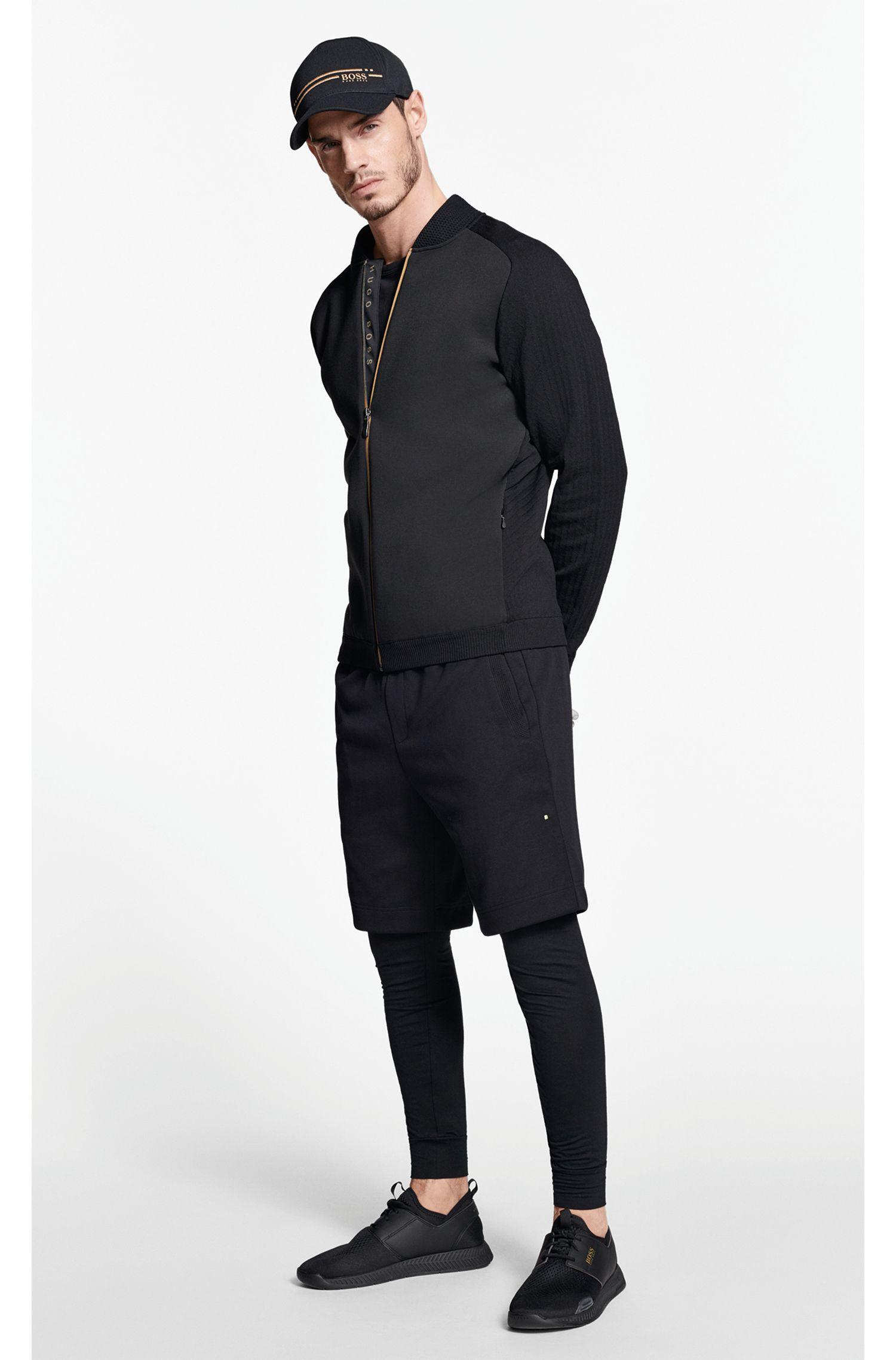 Short Slim Fit en coton mélangé à logo brodé bicolore, Noir