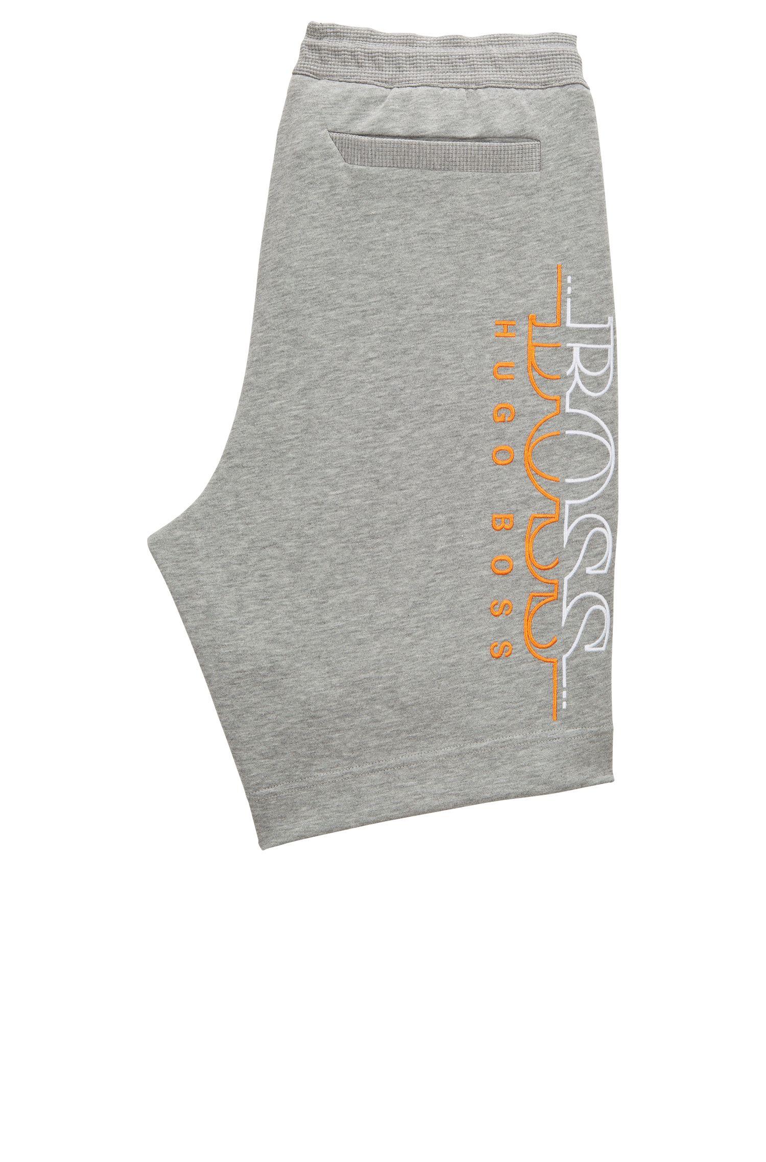 Pantaloncini slim fit in misto cotone con logo bicolore ricamato